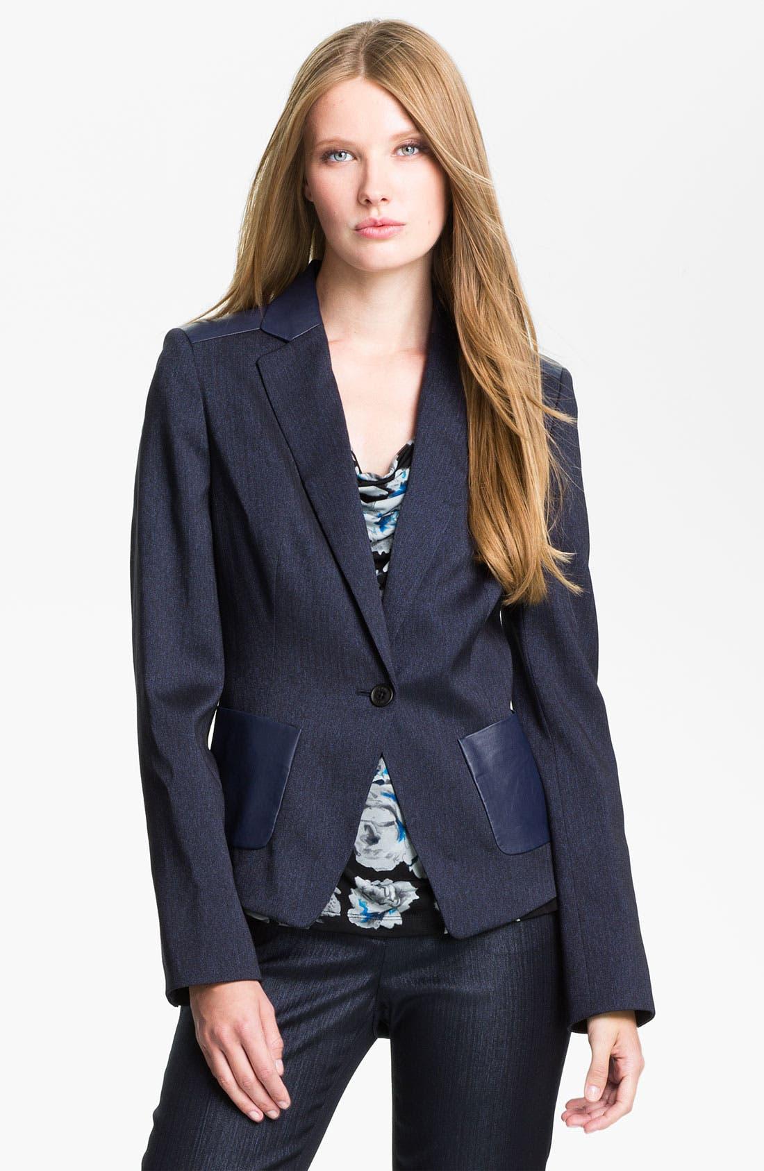 Alternate Image 1 Selected - Anne Klein Herringbone Jacket (Petite)
