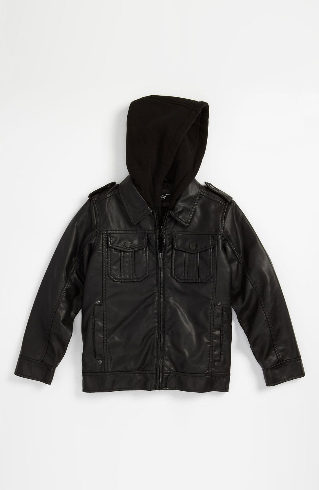 Main Image - Black Rivet Hooded Faux Leather Jacket (Little Boys)