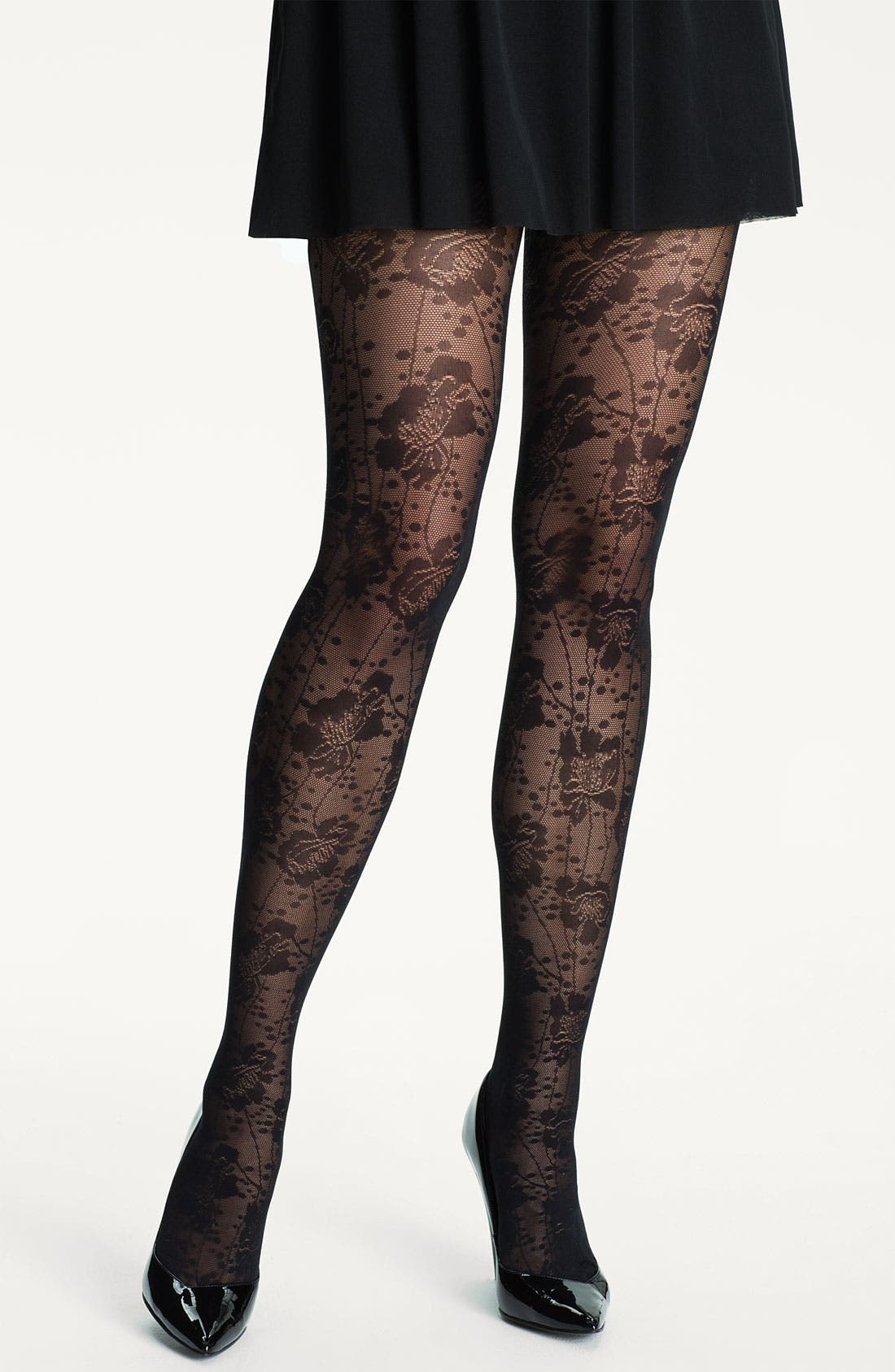 Alternate Image 1 Selected - kate spade new york spotted floral lace tights