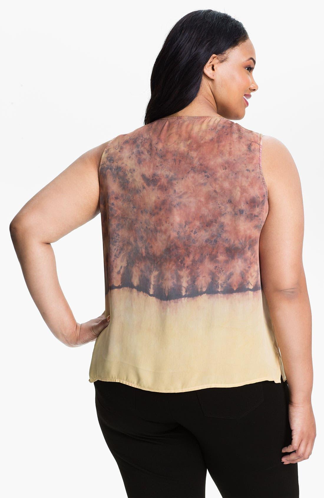 Alternate Image 2  - Citron Print Silk Tank (Plus)