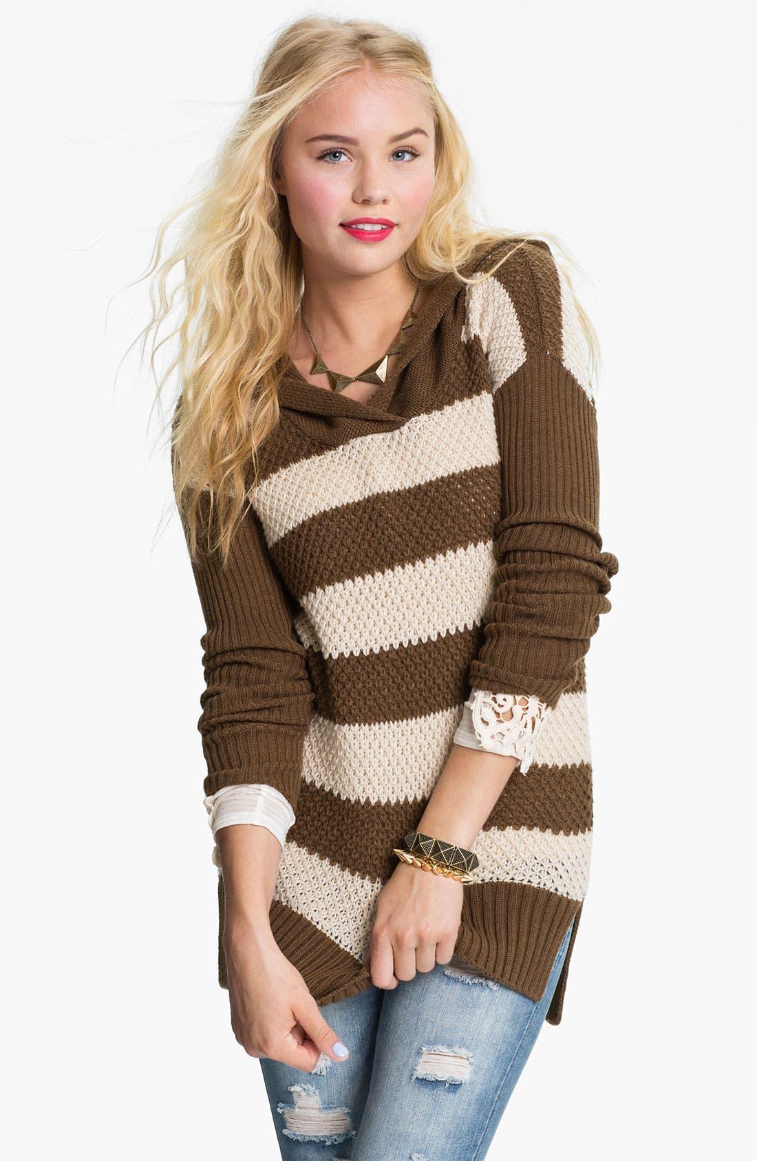 Alternate Image 1 Selected - Rubbish® Rugby Stripe Hoodie Sweater (Juniors)