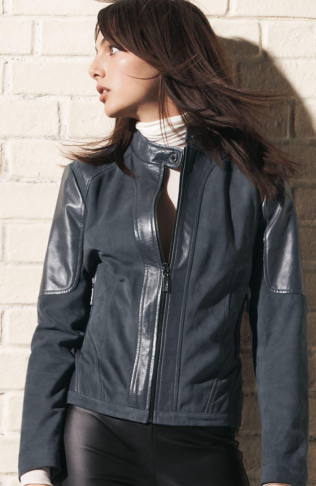 Alternate Image 5  - Bernardo Suede Marble Leather Jacket