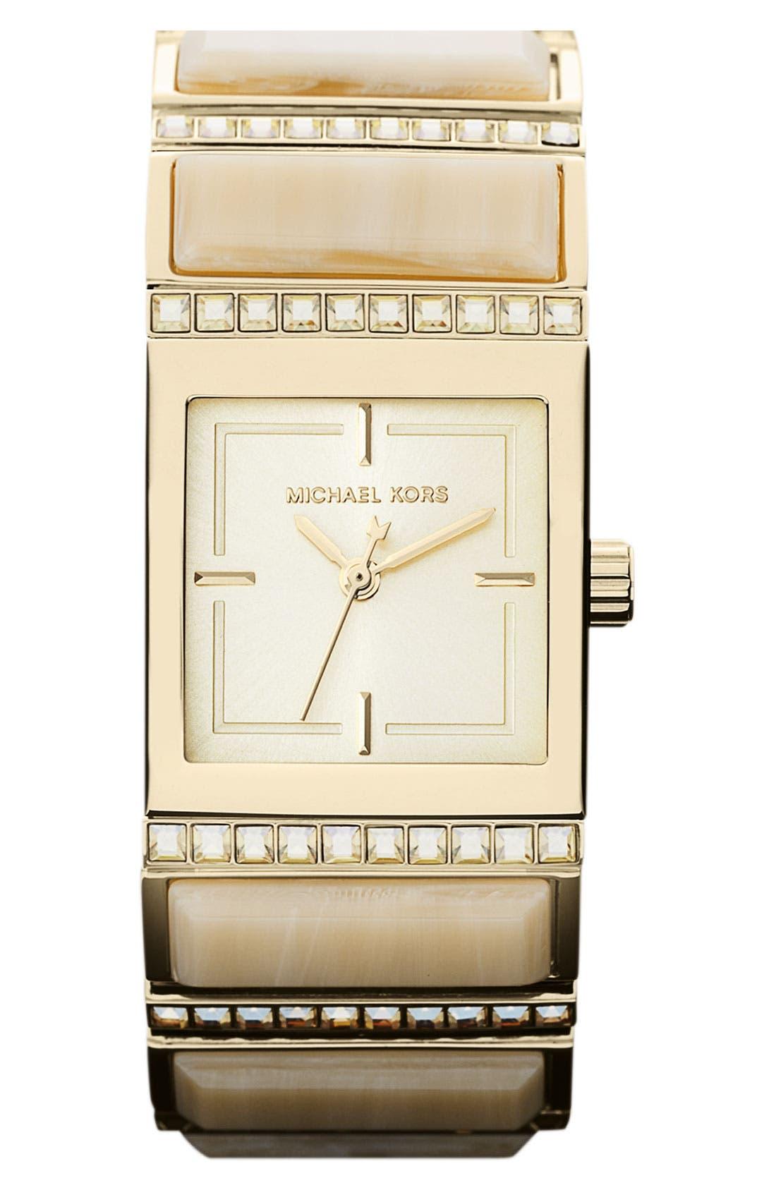 Alternate Image 1 Selected - Michael Kors 'Erin' Baguette Stone Bracelet Watch