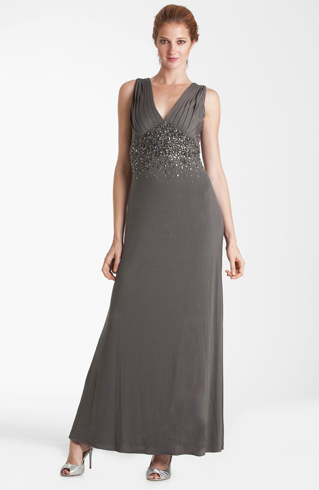 Alternate Image 1 Selected - JS Boutique Double-V Embellished Jersey Gown
