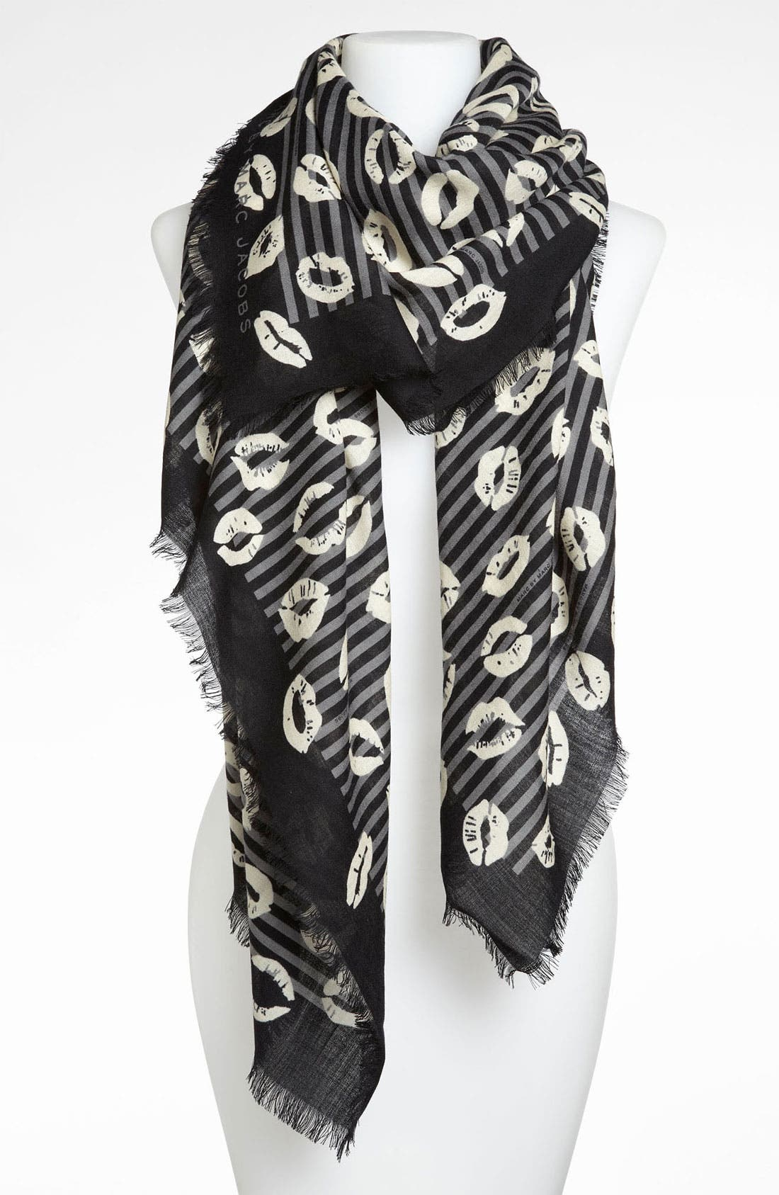 Alternate Image 1 Selected - MARC BY MARC JACOBS 'Stripey Lips' Wool Scarf