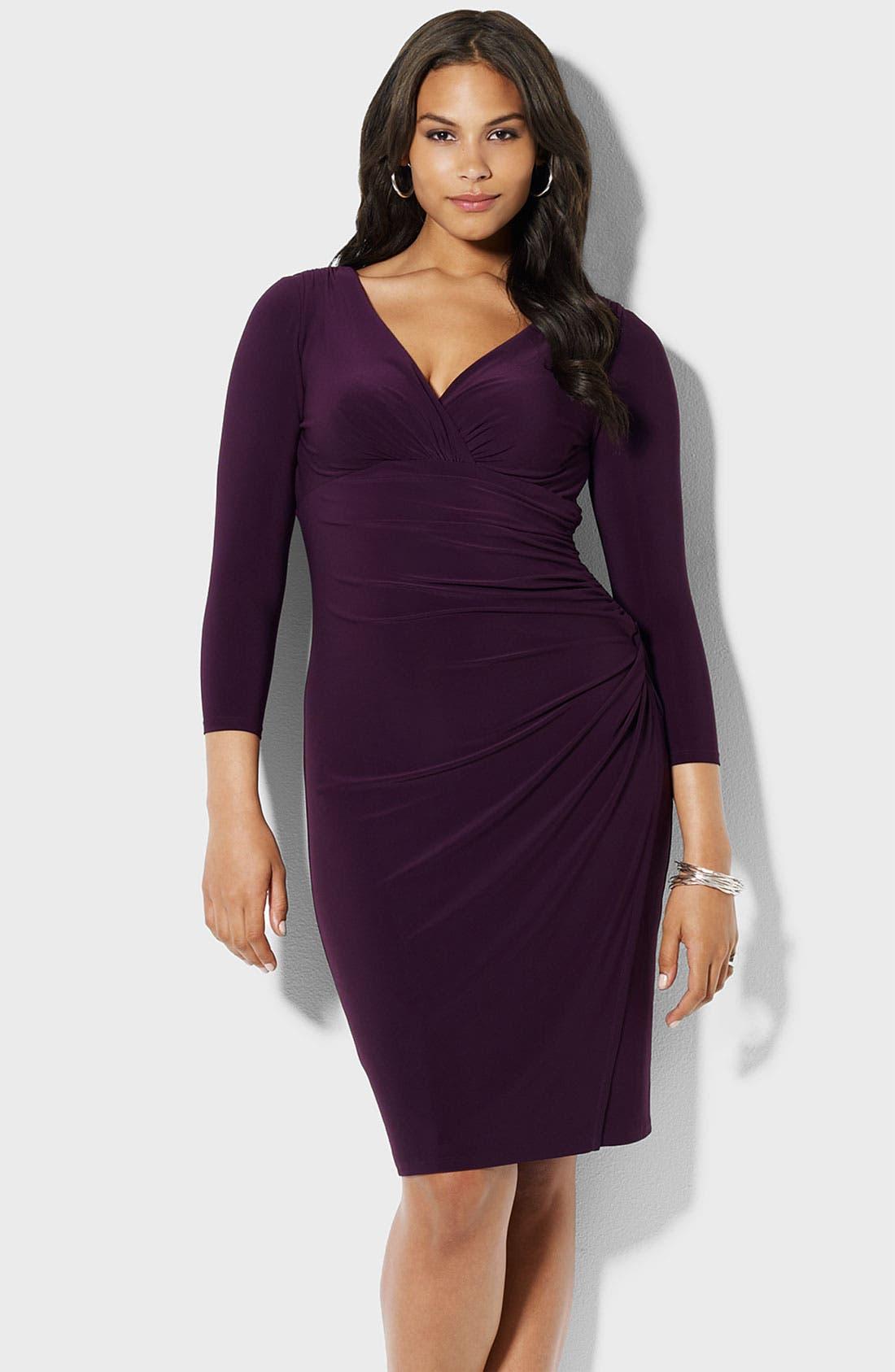 Alternate Image 1 Selected - Lauren Ralph Lauren Surplice Matte Jersey Dress (Plus)