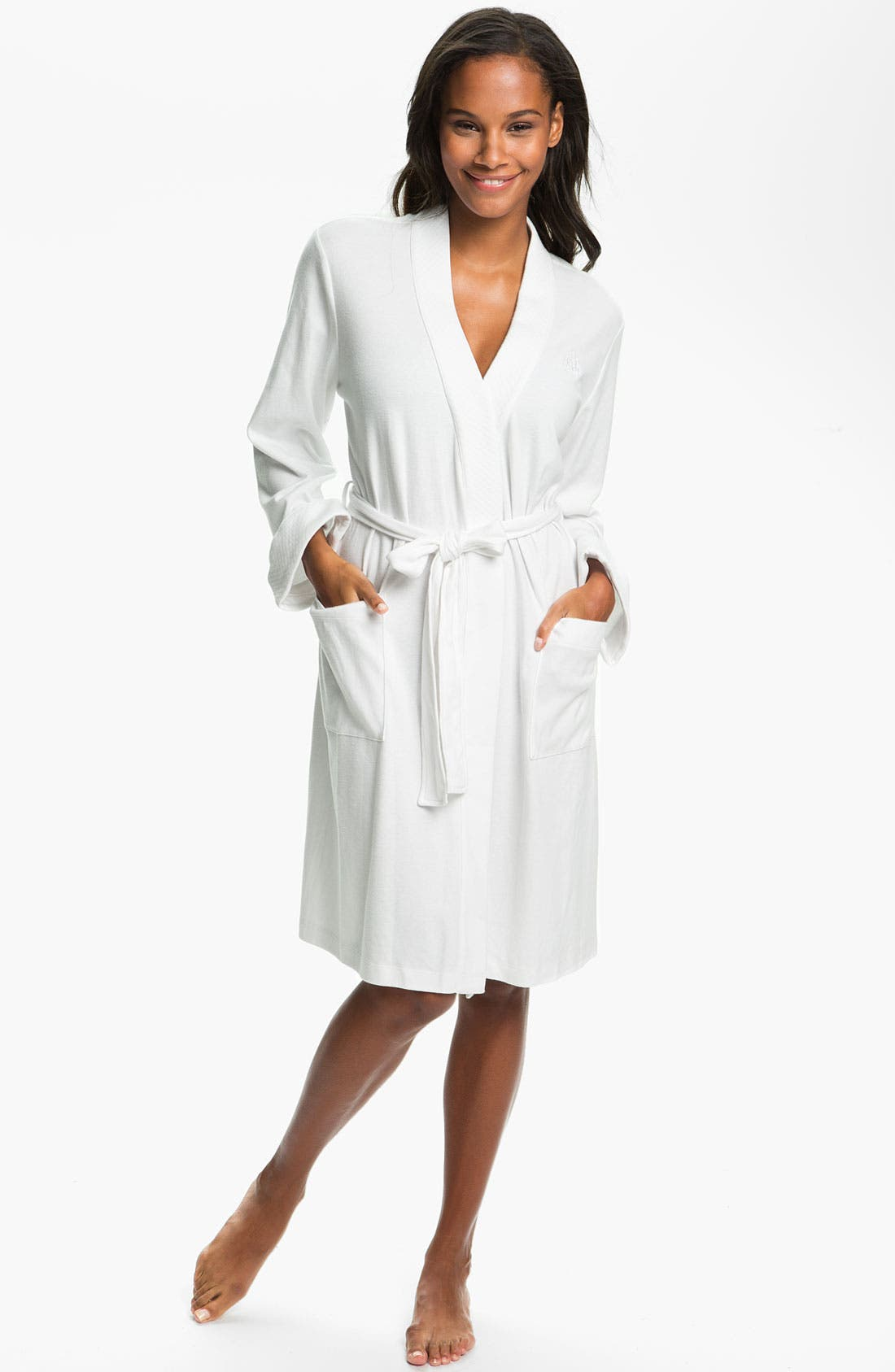 Quilted Collar Robe,                             Main thumbnail 1, color,                             White