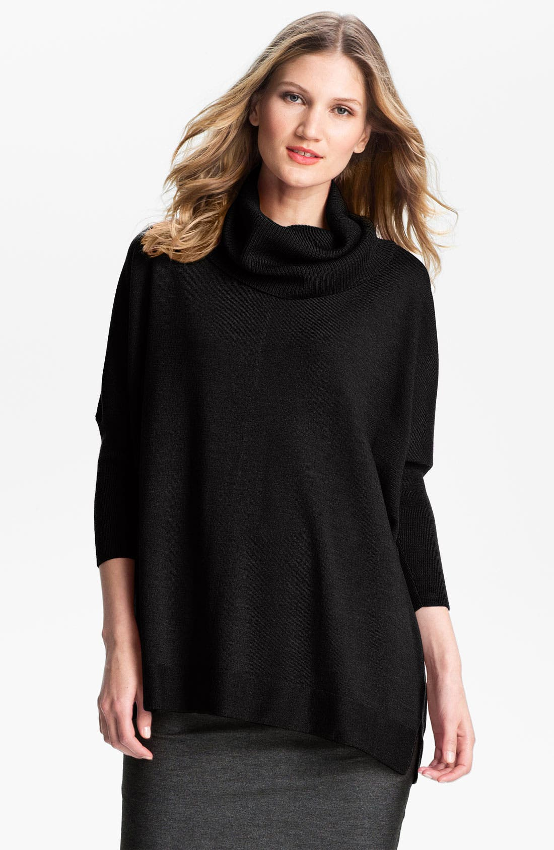 Alternate Image 1 Selected - Eileen Fisher Funnel Neck Wool Jersey Top