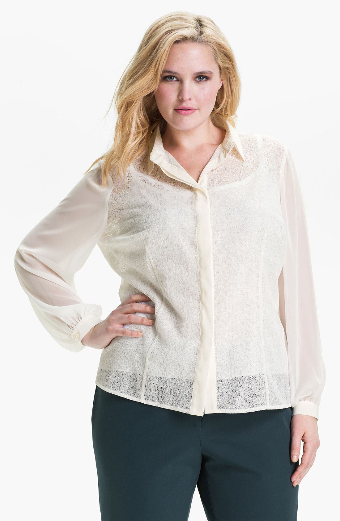Alternate Image 1 Selected - Kenneth Cole New York 'Sandy' Mixed Media Blouse (Plus)