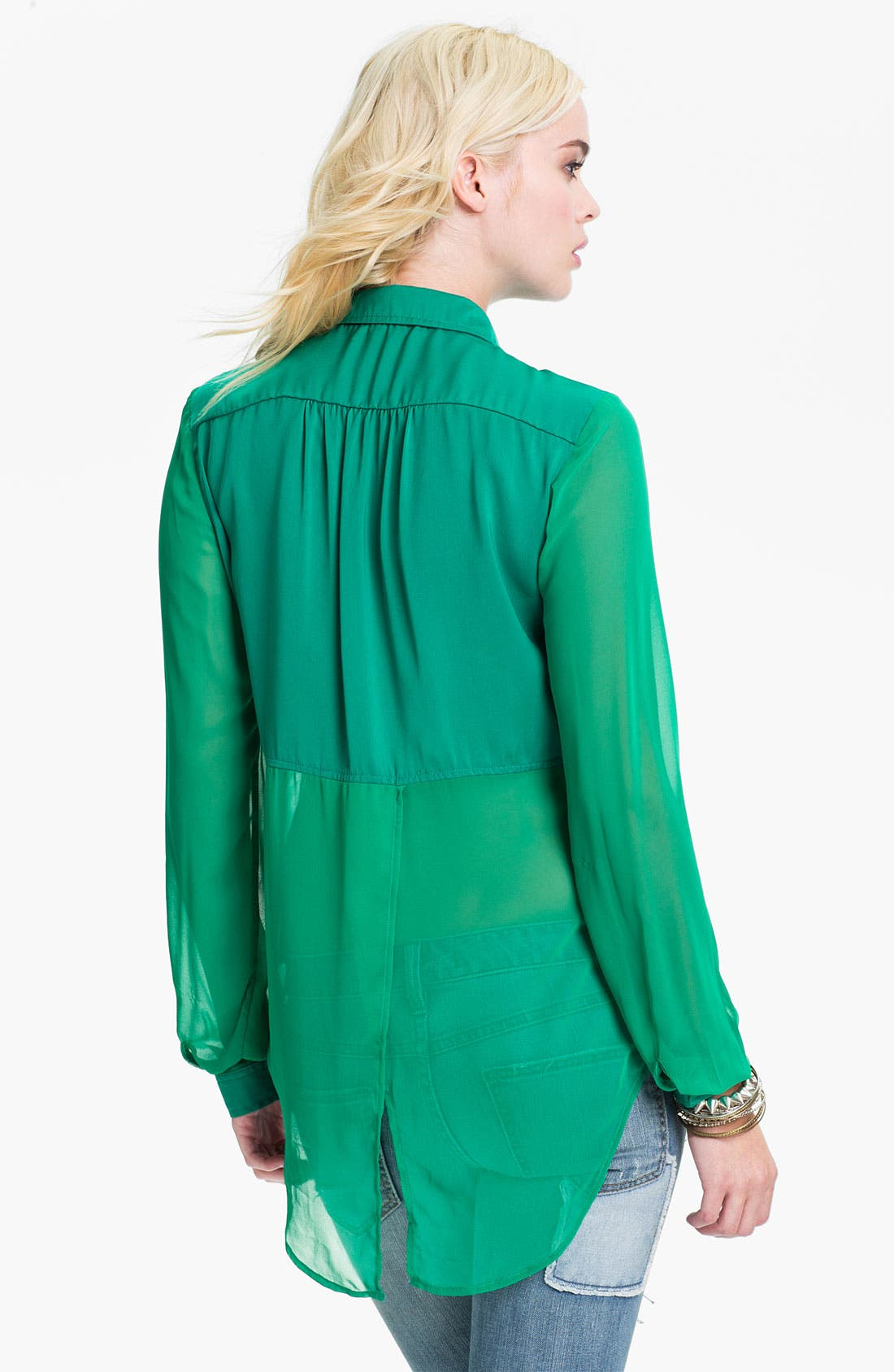 Alternate Image 2  - Free People 'Best of Both Worlds' Sheer Panel Shirt