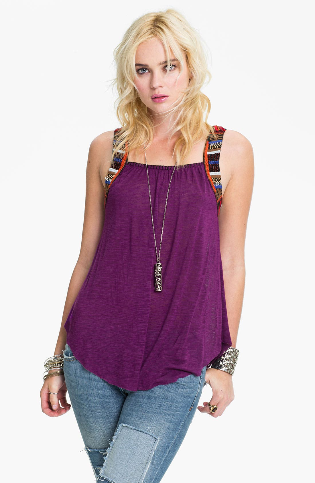 Main Image - Free People 'Travelers' Embellished Tank