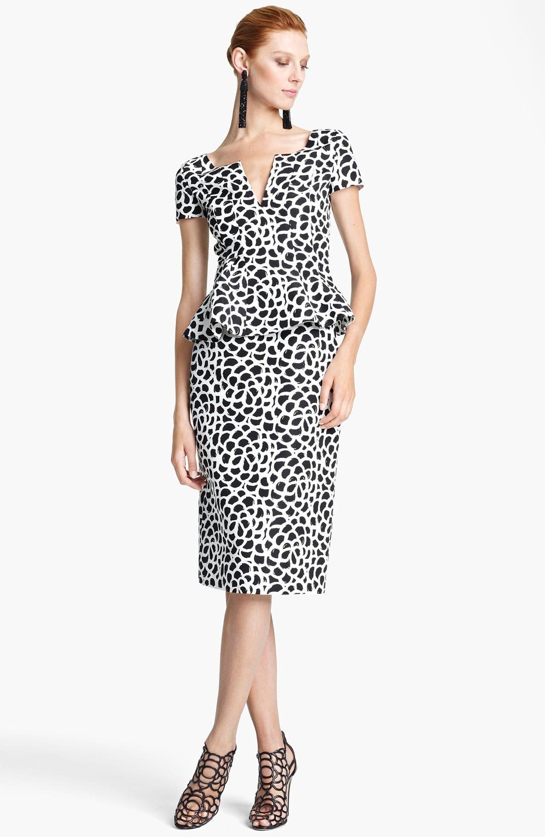 Alternate Image 1 Selected - Oscar de la Renta Print Silk Faille Dress