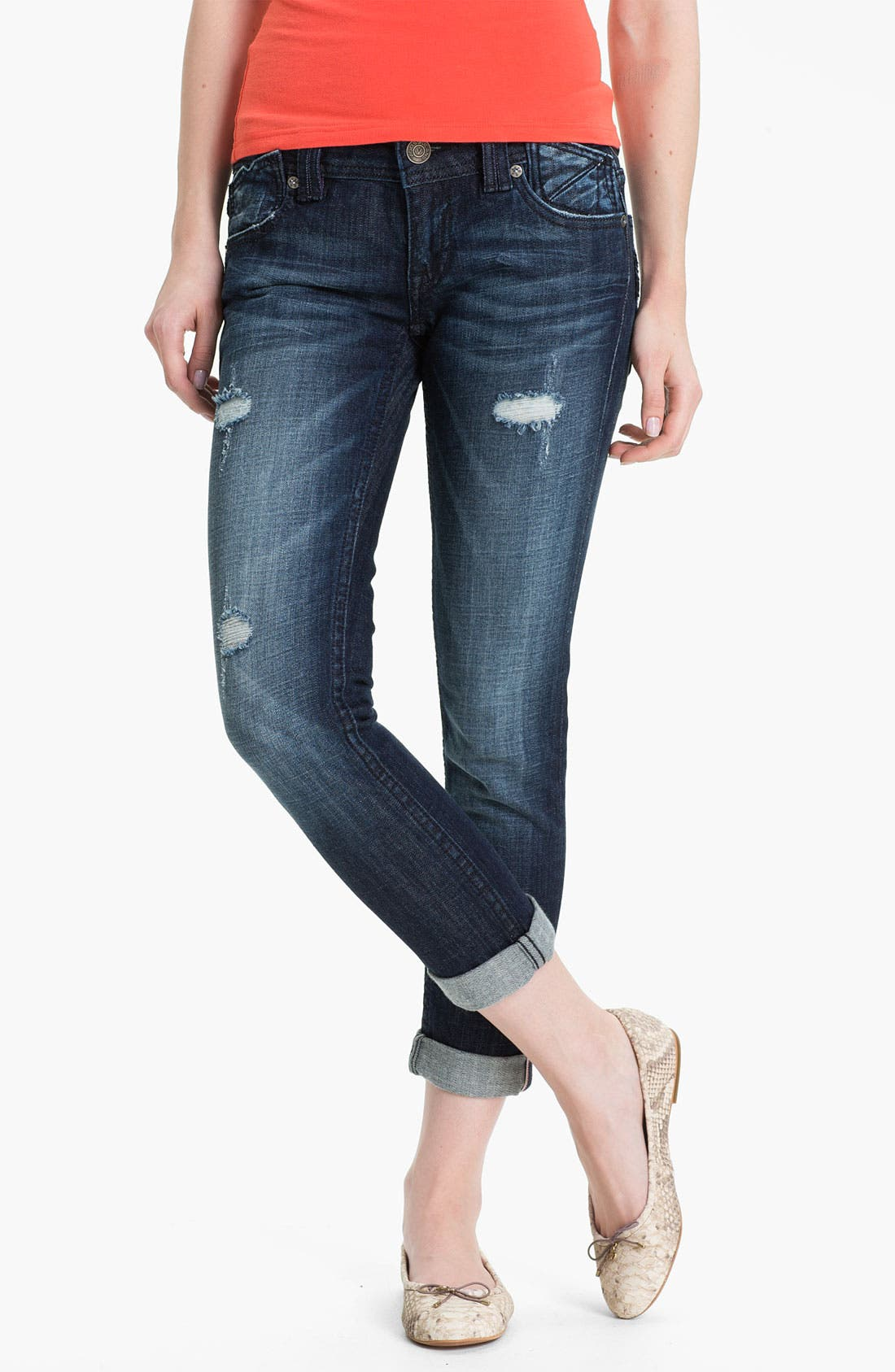 Main Image - Vigoss Deconstructed Skinny Jeans (Medium) (Juniors)