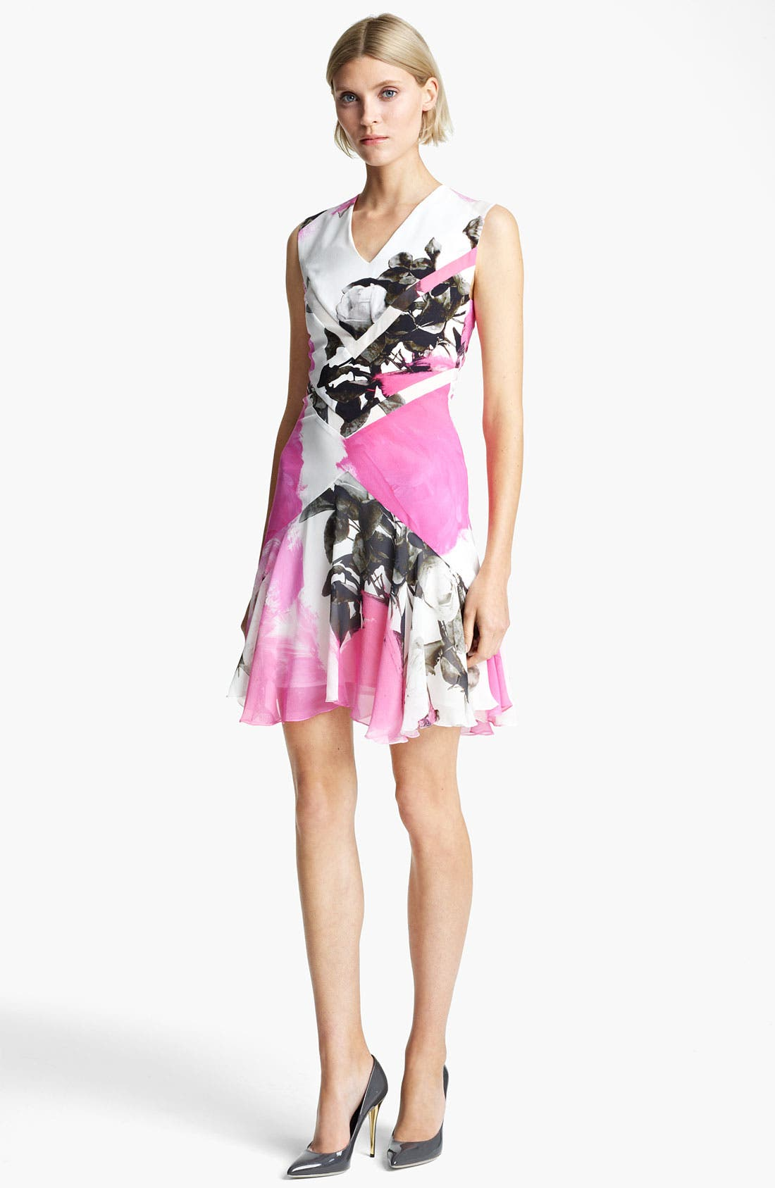 Alternate Image 1 Selected - Christopher Kane Print Flounce Hem Dress