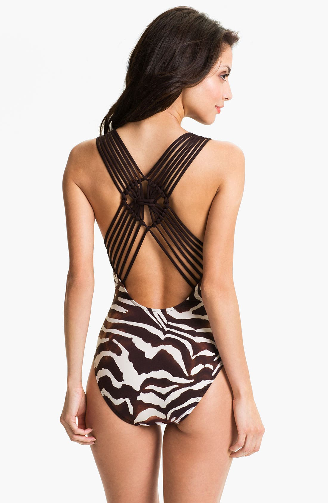 Alternate Image 2  - La Blanca Macrame Back One Piece Tank Swimsuit