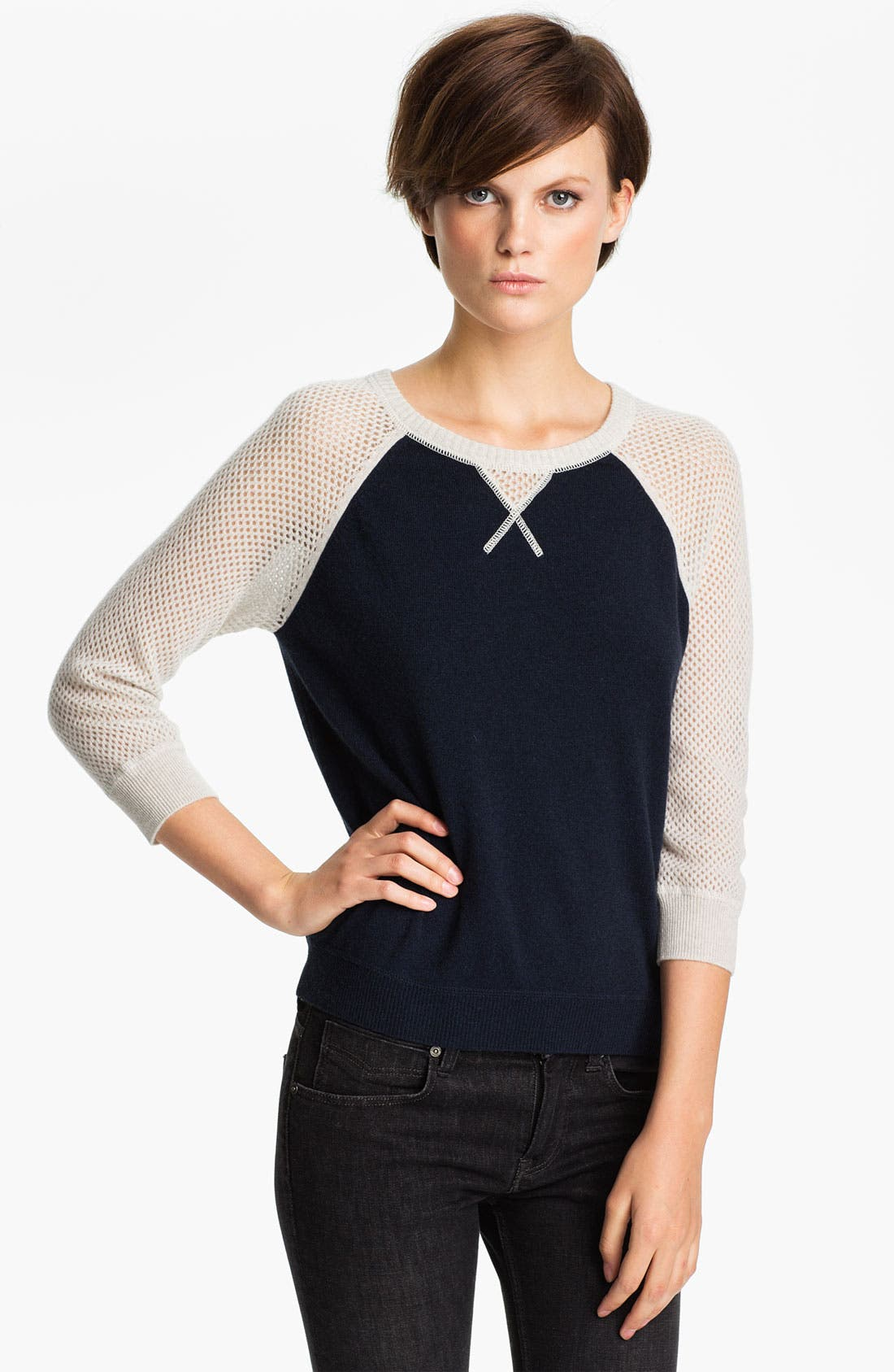 Main Image - autumn cashmere Colorblock Mesh Sweatshirt