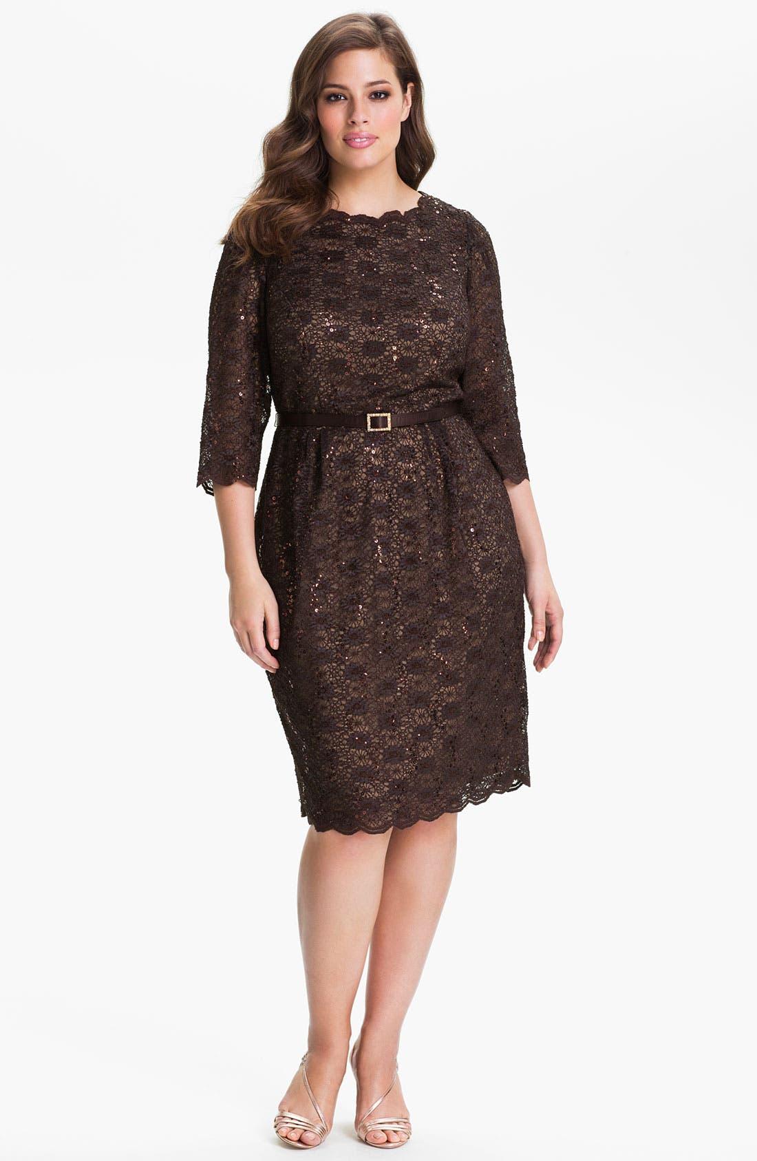 Main Image - Alex Evenings Belted Lace Sheath Dress (Plus)