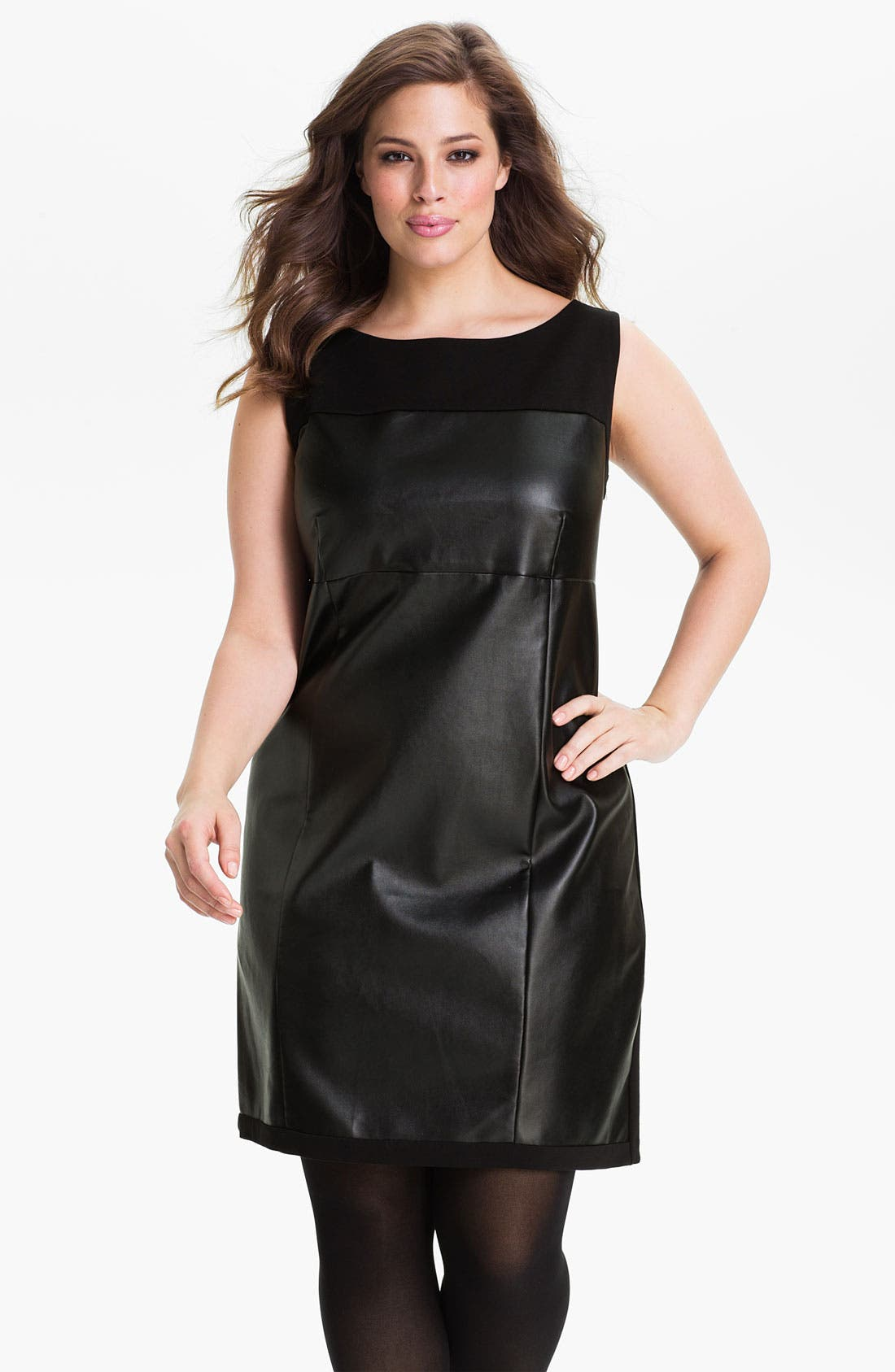 Alternate Image 1 Selected - DKNYC Faux Leather Dress (Plus)