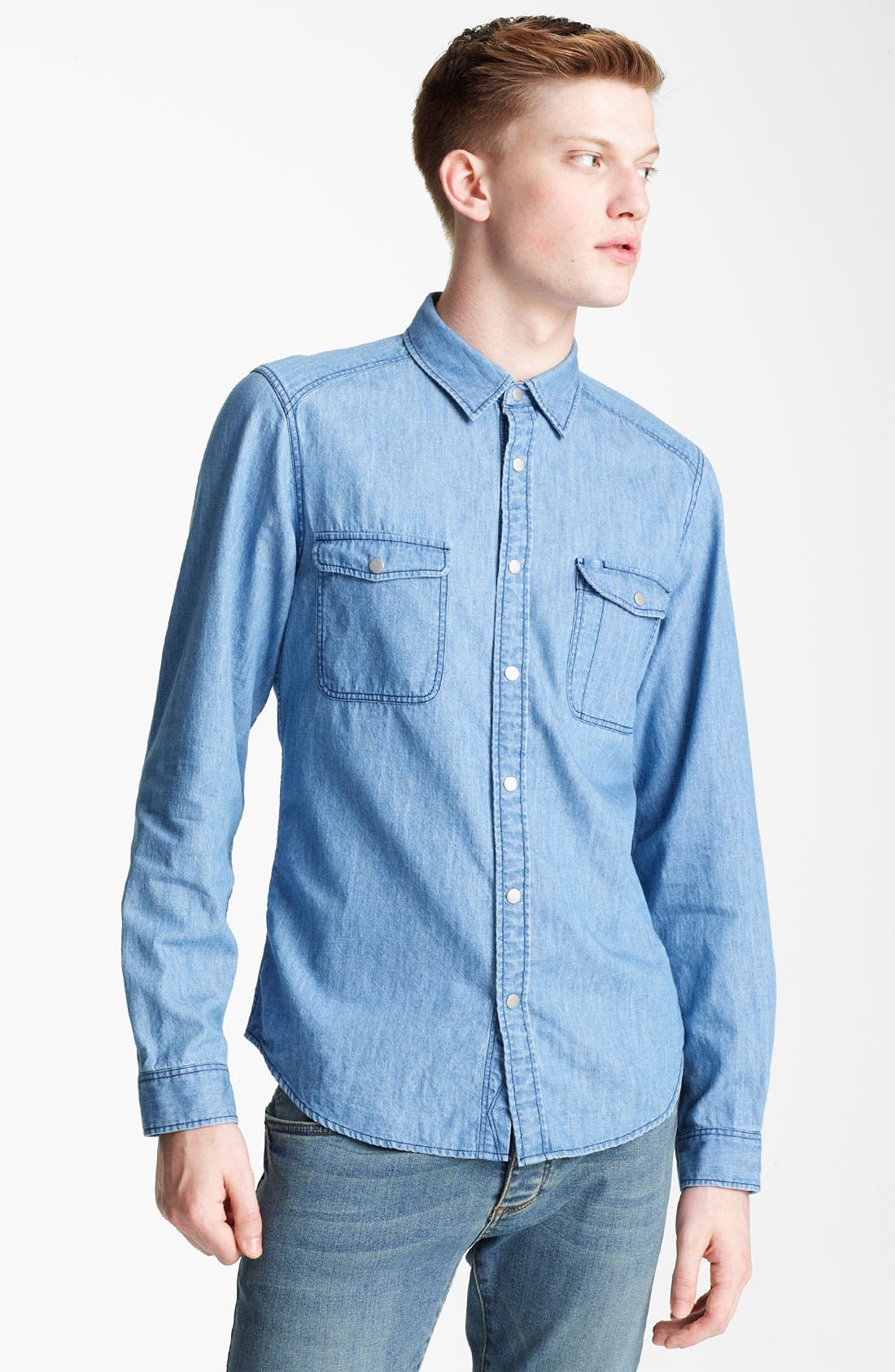 Alternate Image 1 Selected - Topman Long Sleeve Denim Shirt