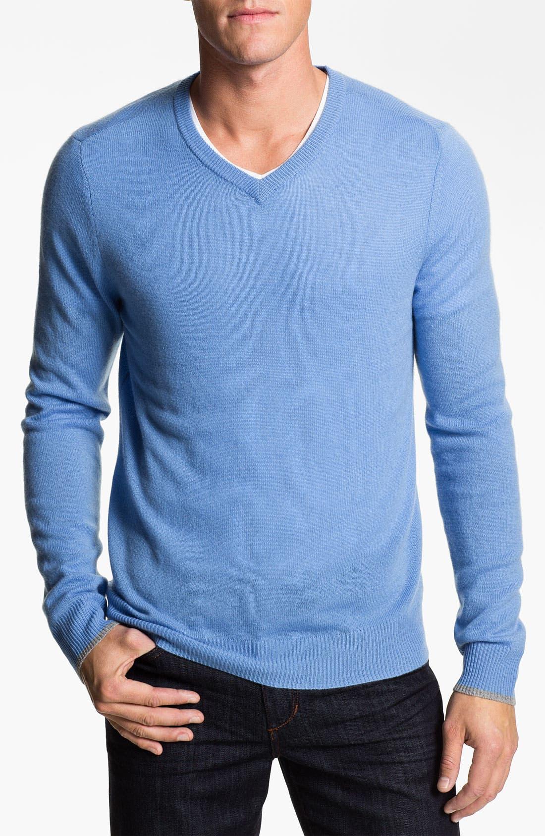 Alternate Image 1 Selected - 1901 Trim Fit V-Neck Cashmere Sweater