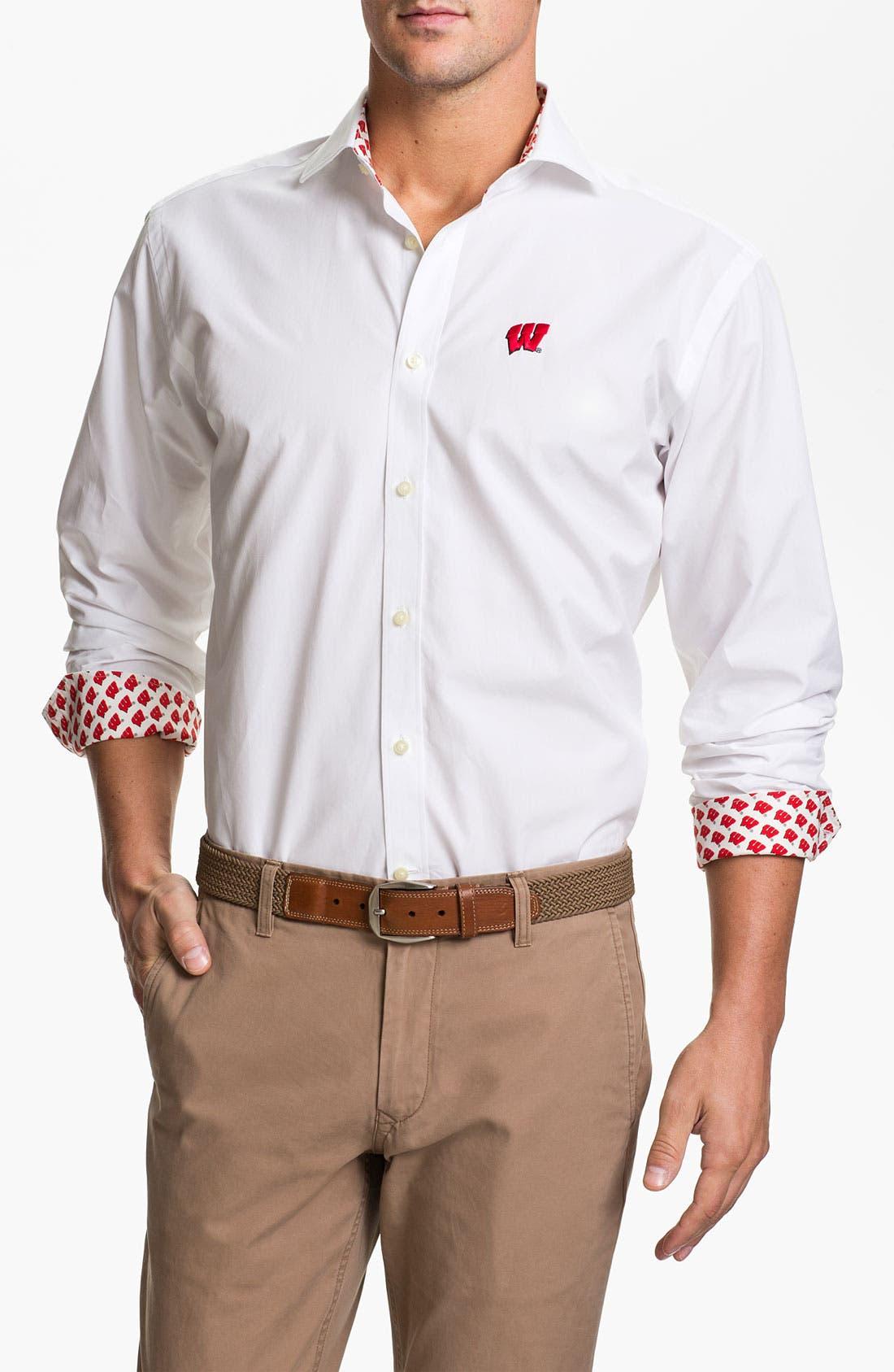 Alternate Image 1 Selected - Thomas Dean 'University of Wisconsin' Regular Fit Sport Shirt