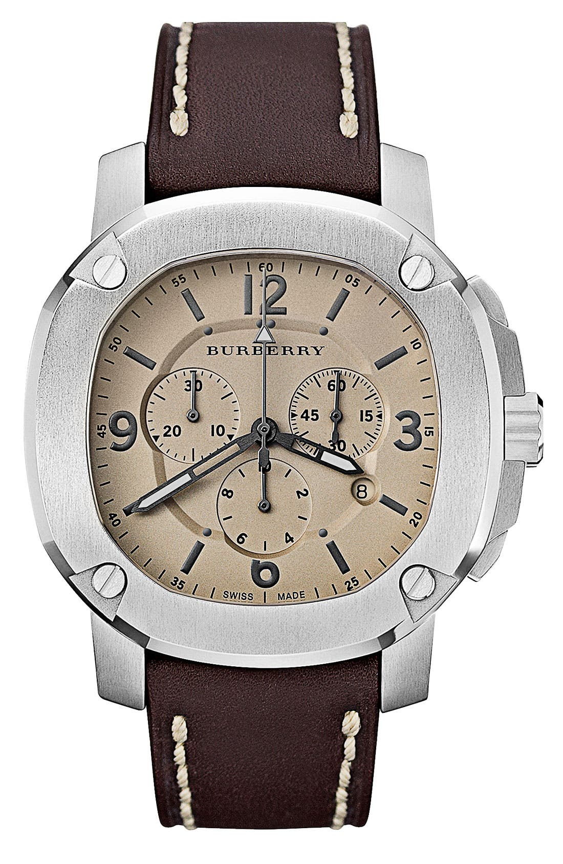 Alternate Image 1 Selected - Burberry The Britain Chronograph Leather Strap Watch
