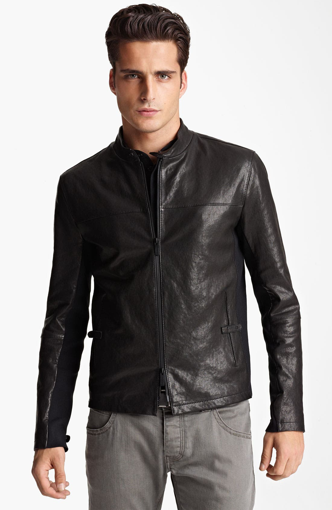 Alternate Image 1 Selected - Armani Collezioni Leather Moto Jacket