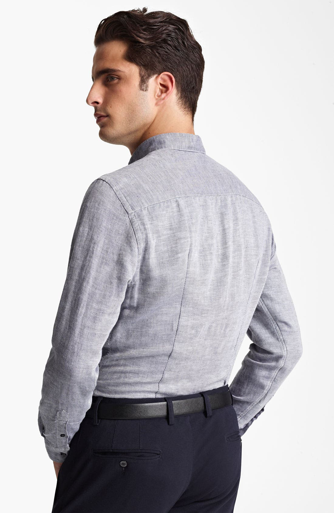 Alternate Image 2  - Armani Collezioni Stripe Flax & Cotton Sport Shirt