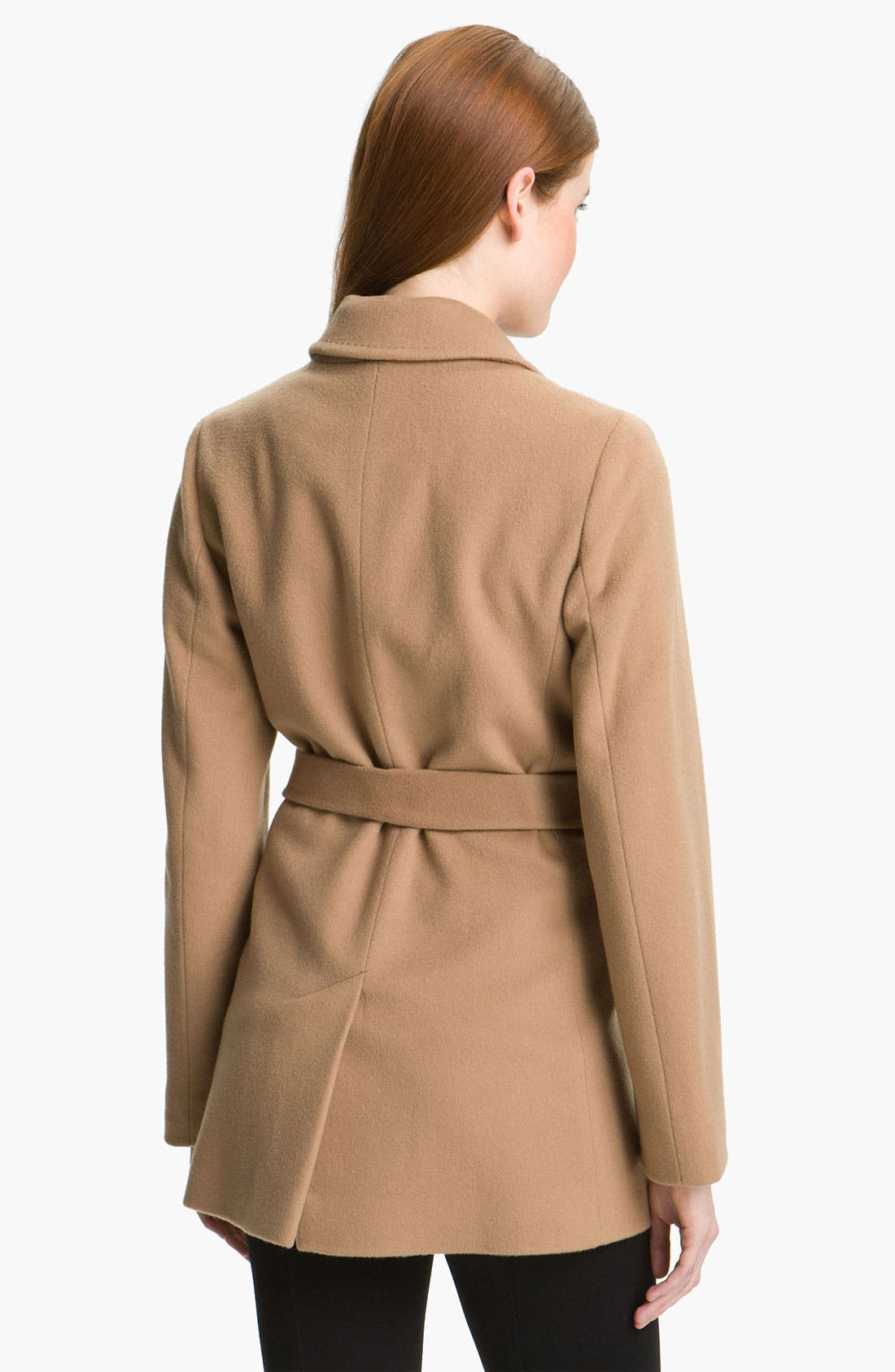 Alternate Image 2  - Fleurette Short Loro Piana Wool Wrap Coat (Petite)