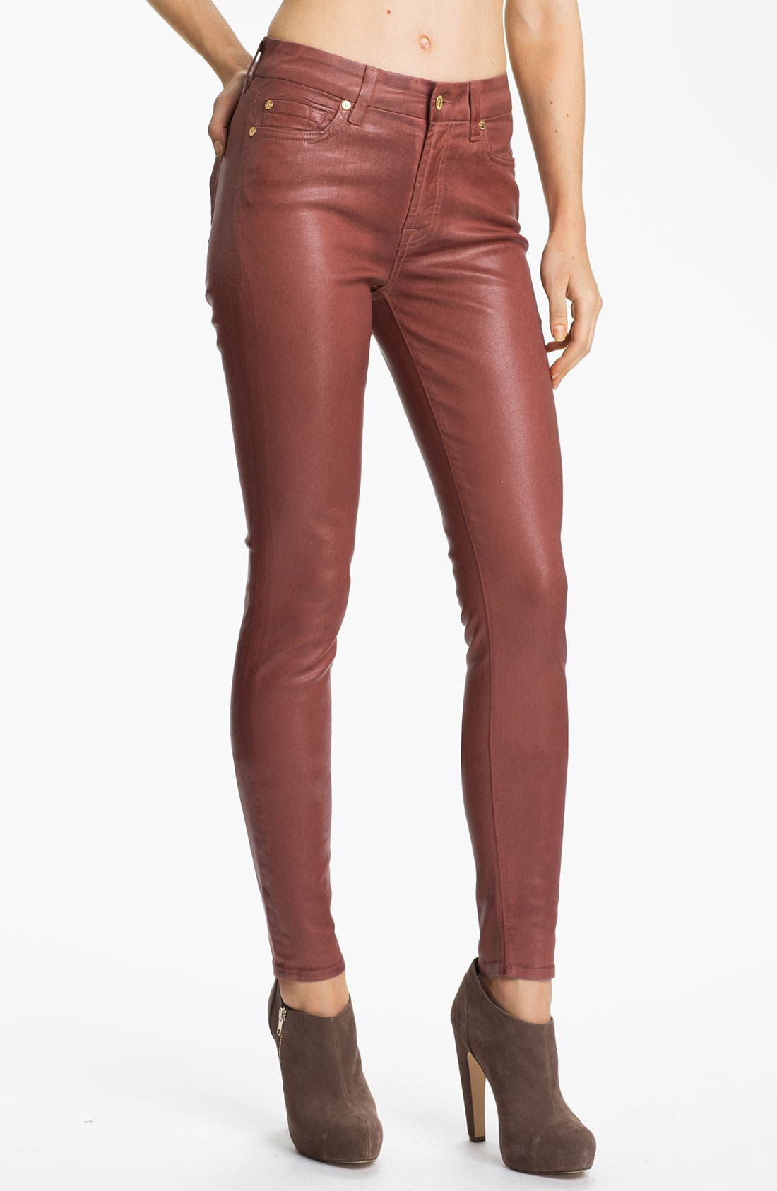 Main Image - 7 For All Mankind® Coated Skinny Stretch Jeans (Dusty Pink High Shine)