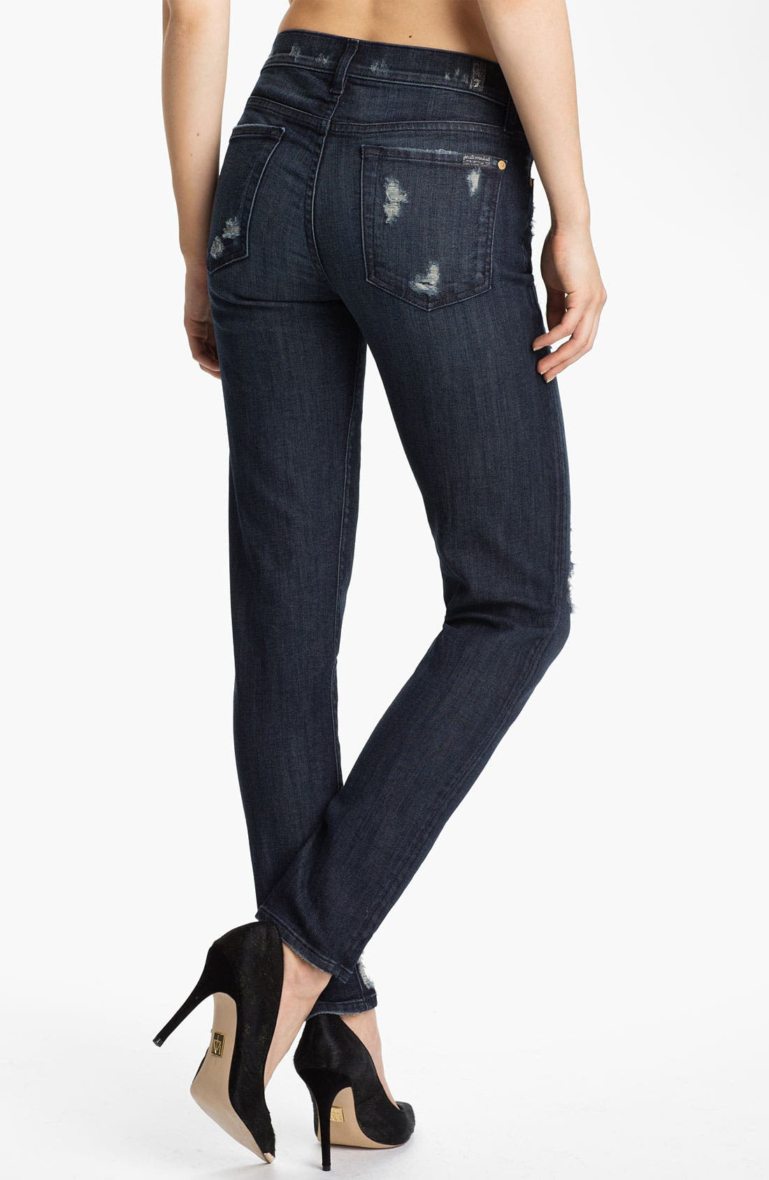Alternate Image 2  - 7 For All Mankind® 'The Slim Cigarette' Stretch Jeans (Grey Tint)