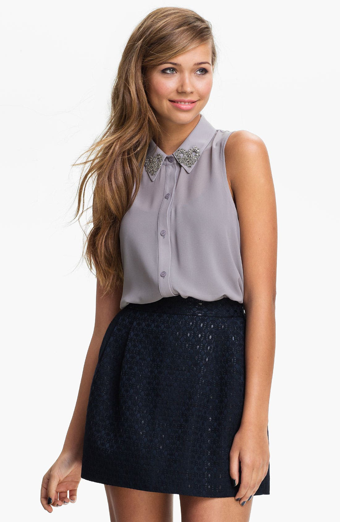 Alternate Image 1 Selected - Lush Embellished Collar Sleeveless Shirt (Juniors)