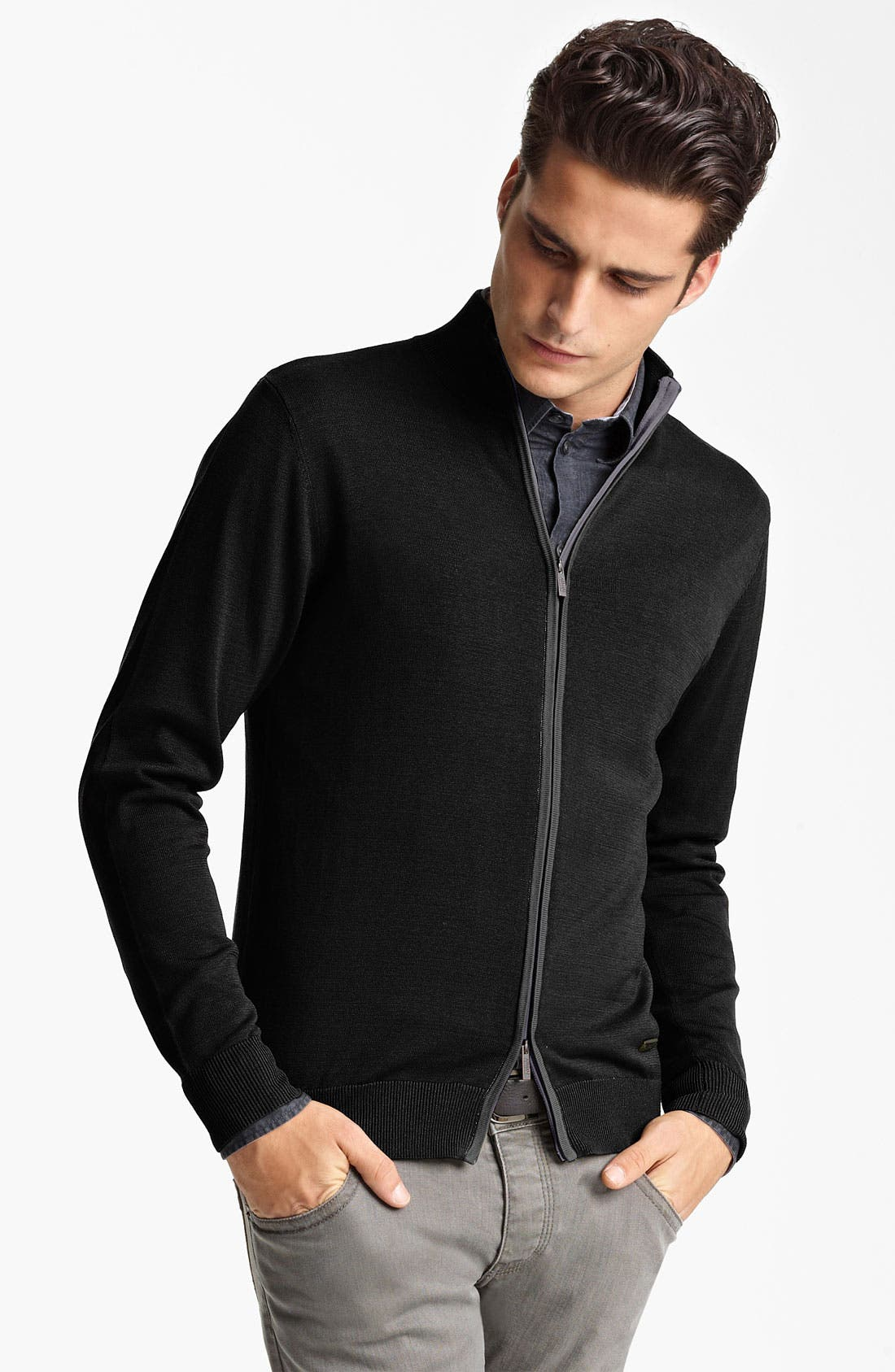 Main Image - Armani Collezioni Silk & Cotton Zip Sweater