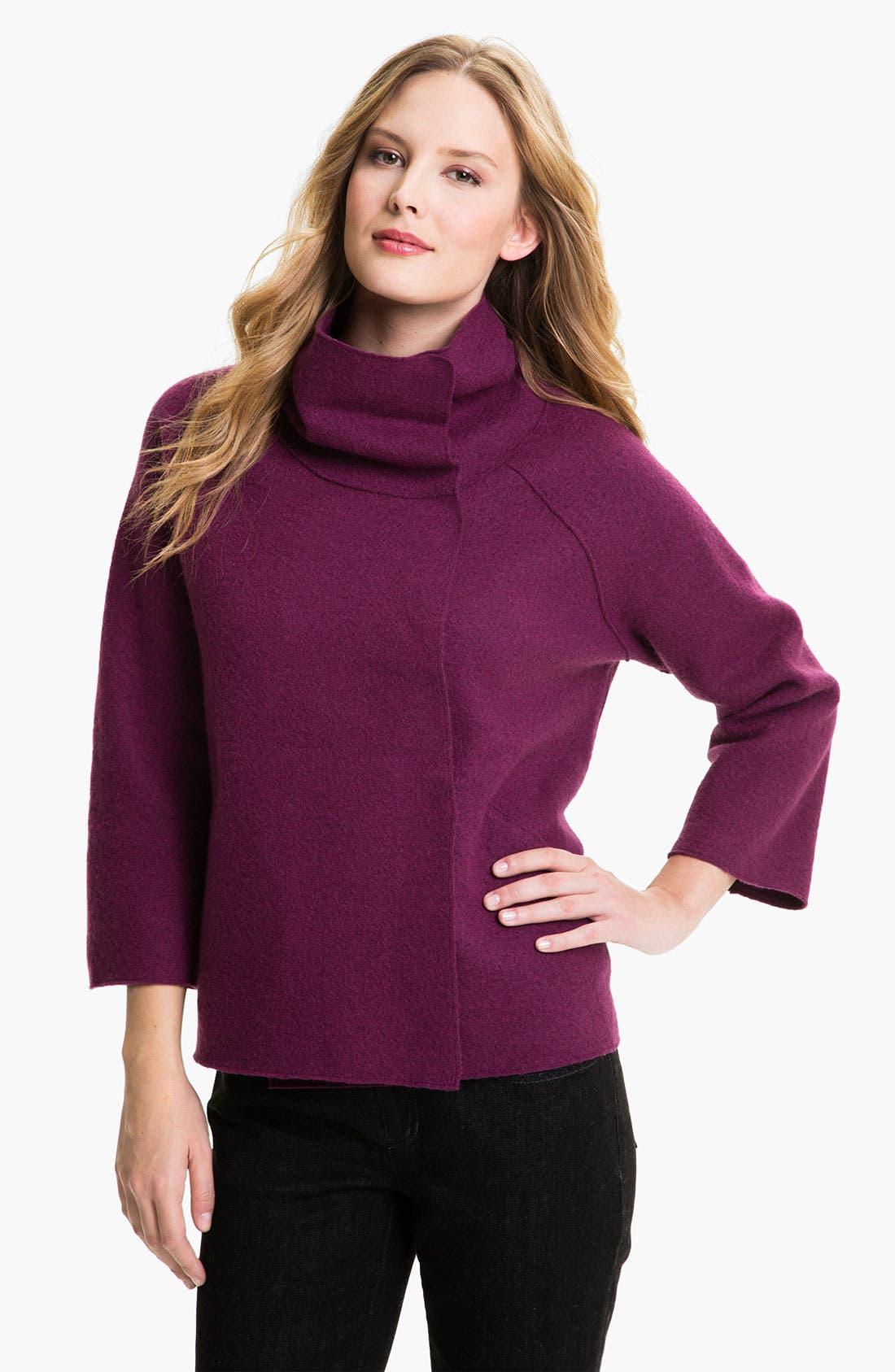 Alternate Image 1 Selected - Eileen Fisher Funnel Neck Boiled Wool Coat (Petite)