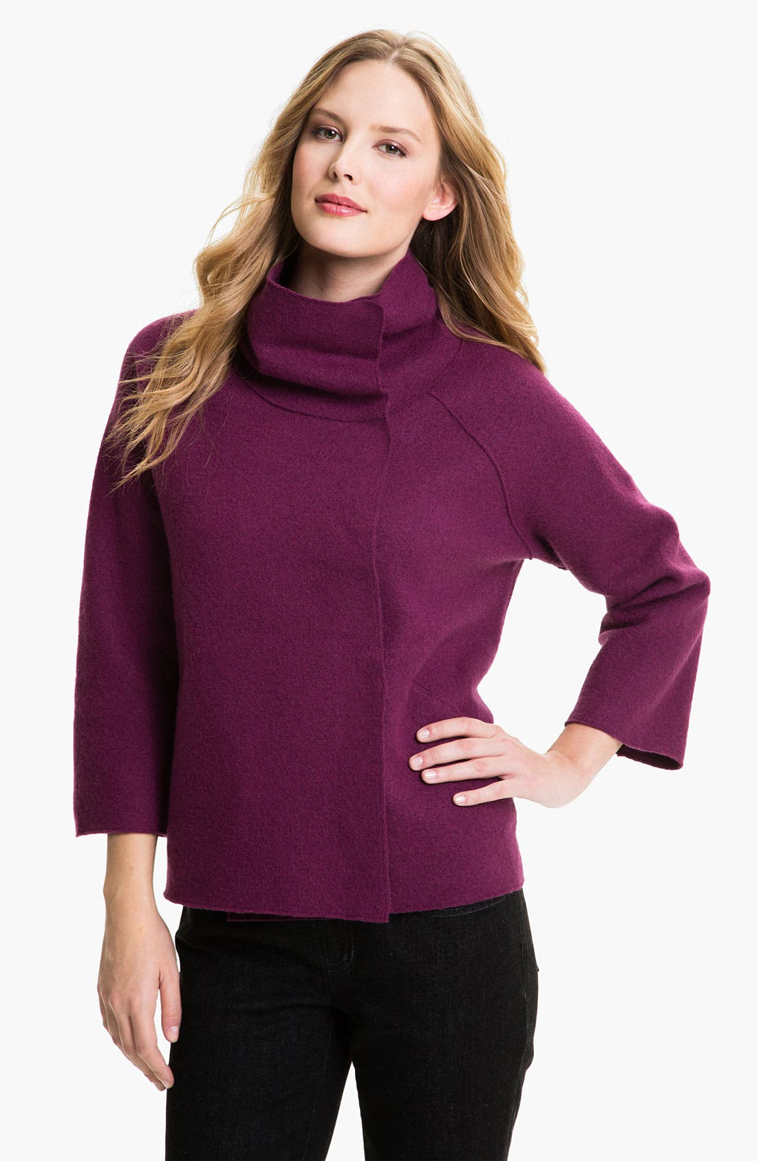 Main Image - Eileen Fisher Funnel Neck Boiled Wool Coat (Petite)