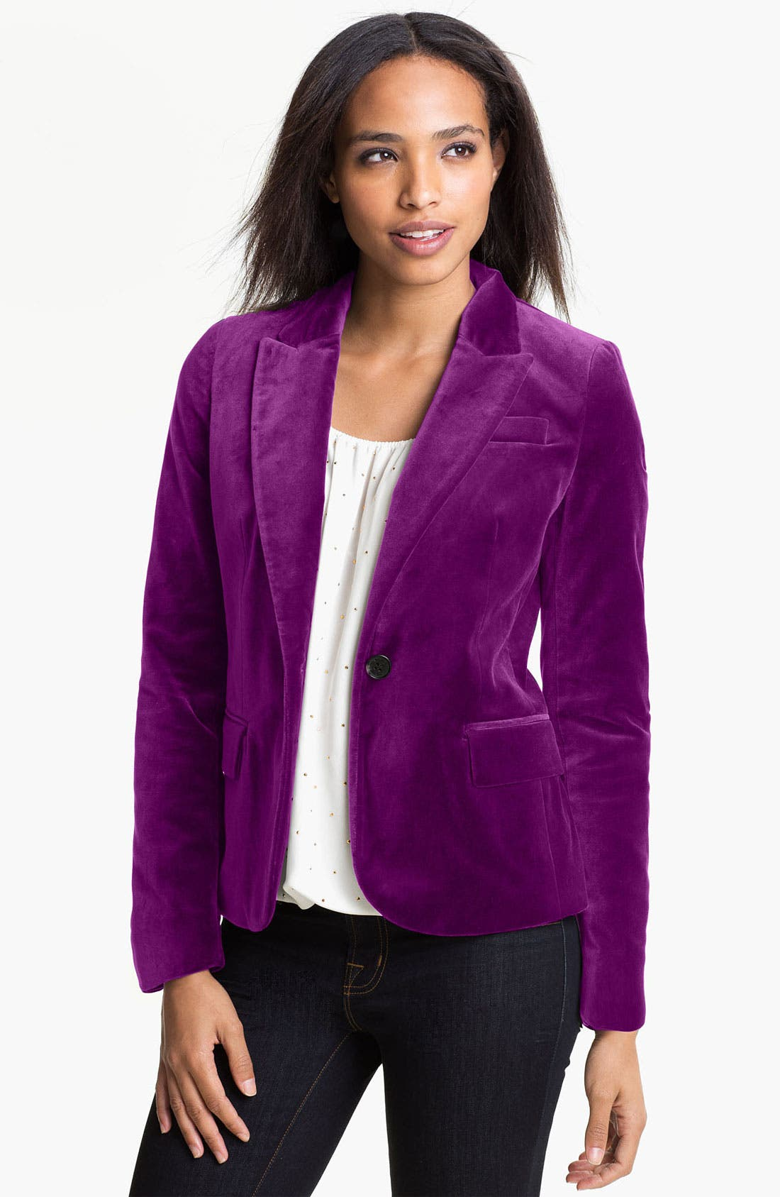 Alternate Image 1 Selected - Vince Camuto One Button Velvet Blazer