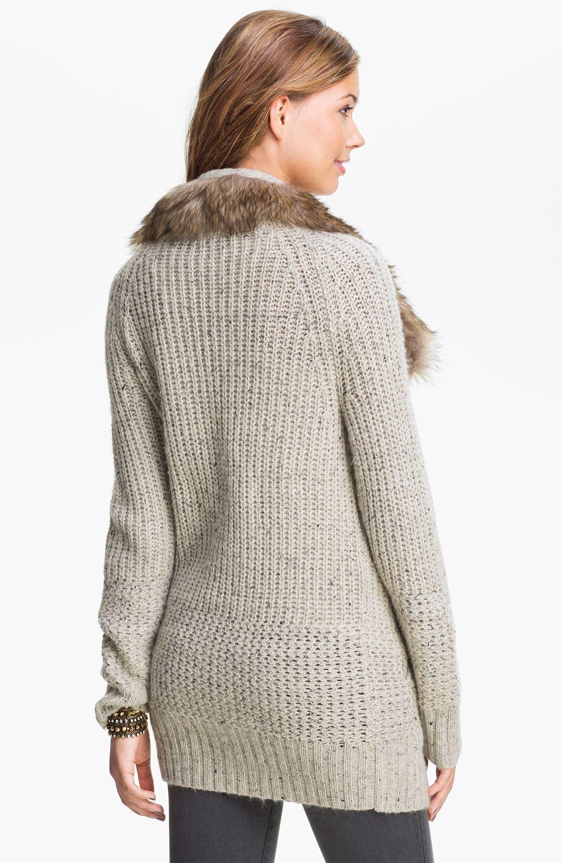 Alternate Image 2  - Rubbish® Faux Fur Collar Cardigan (Juniors)