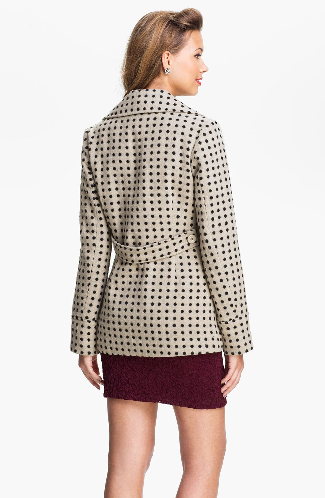 Alternate Image 2  - Tulle Polka Dot Double Breasted Coat (Juniors)