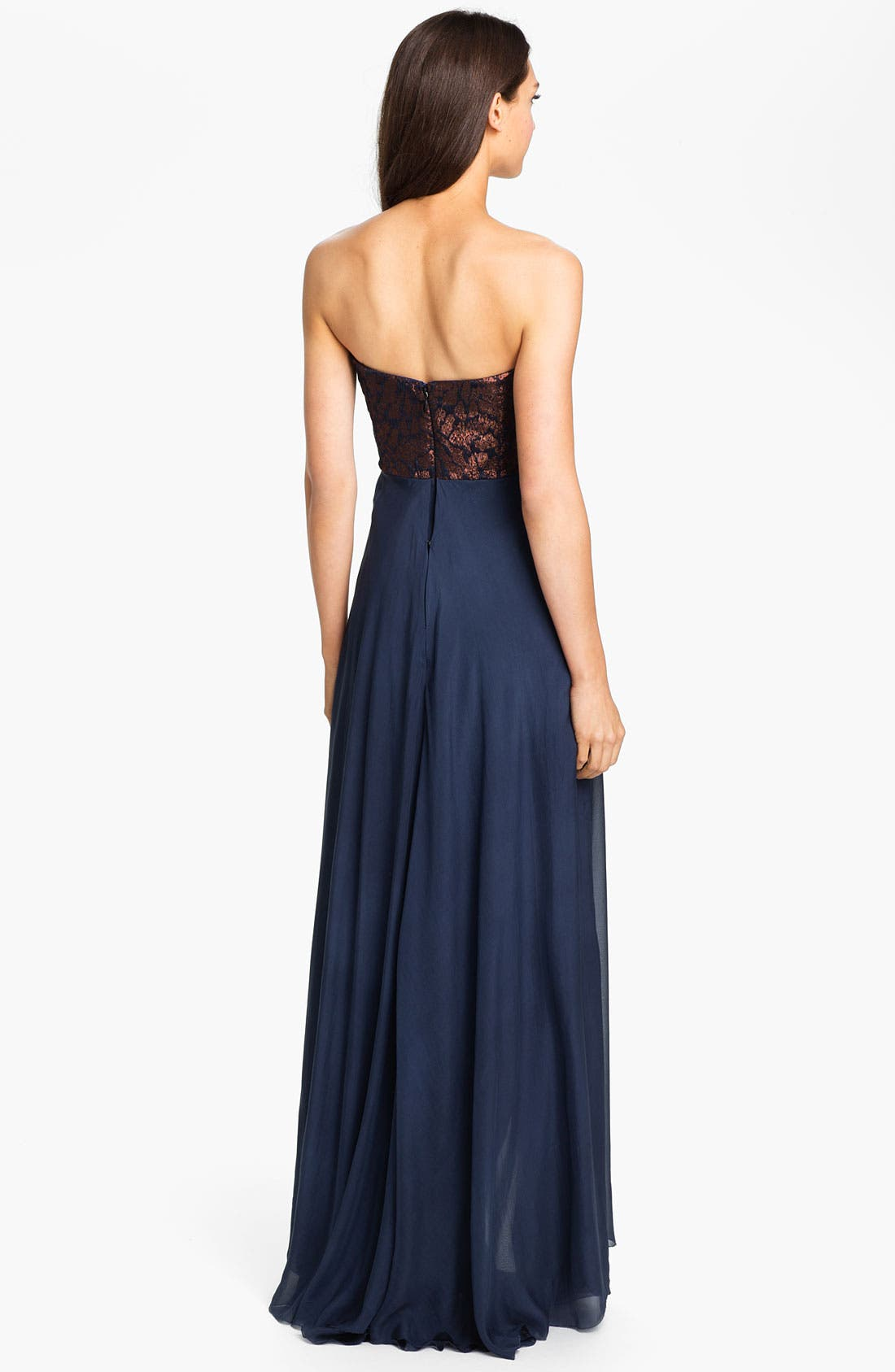 Alternate Image 2  - Nicole Miller Strapless Jacquard Bodice High/Low Silk Gown