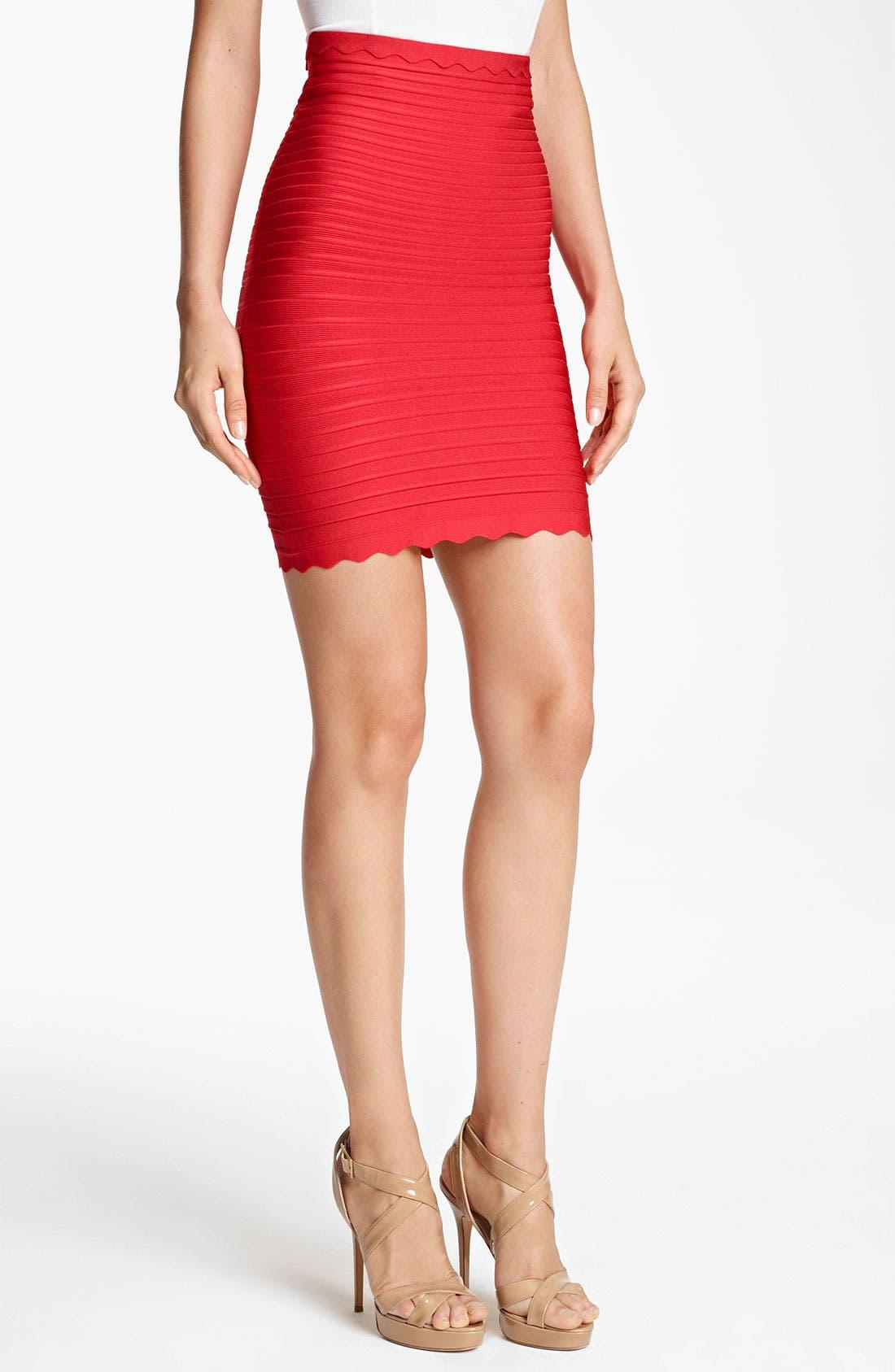 Main Image - Herve Leger Scalloped Pencil Skirt