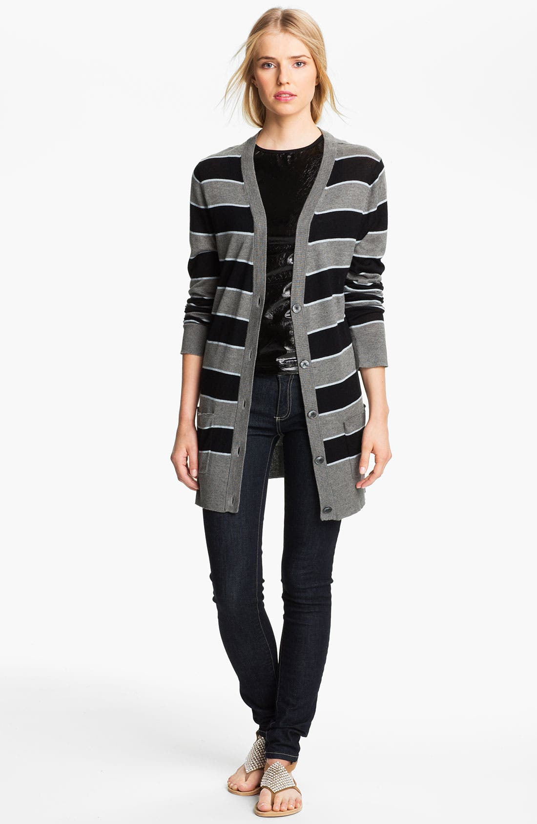 Alternate Image 1 Selected - L'AGENCE Stripe Silk & Cashmere Cardigan