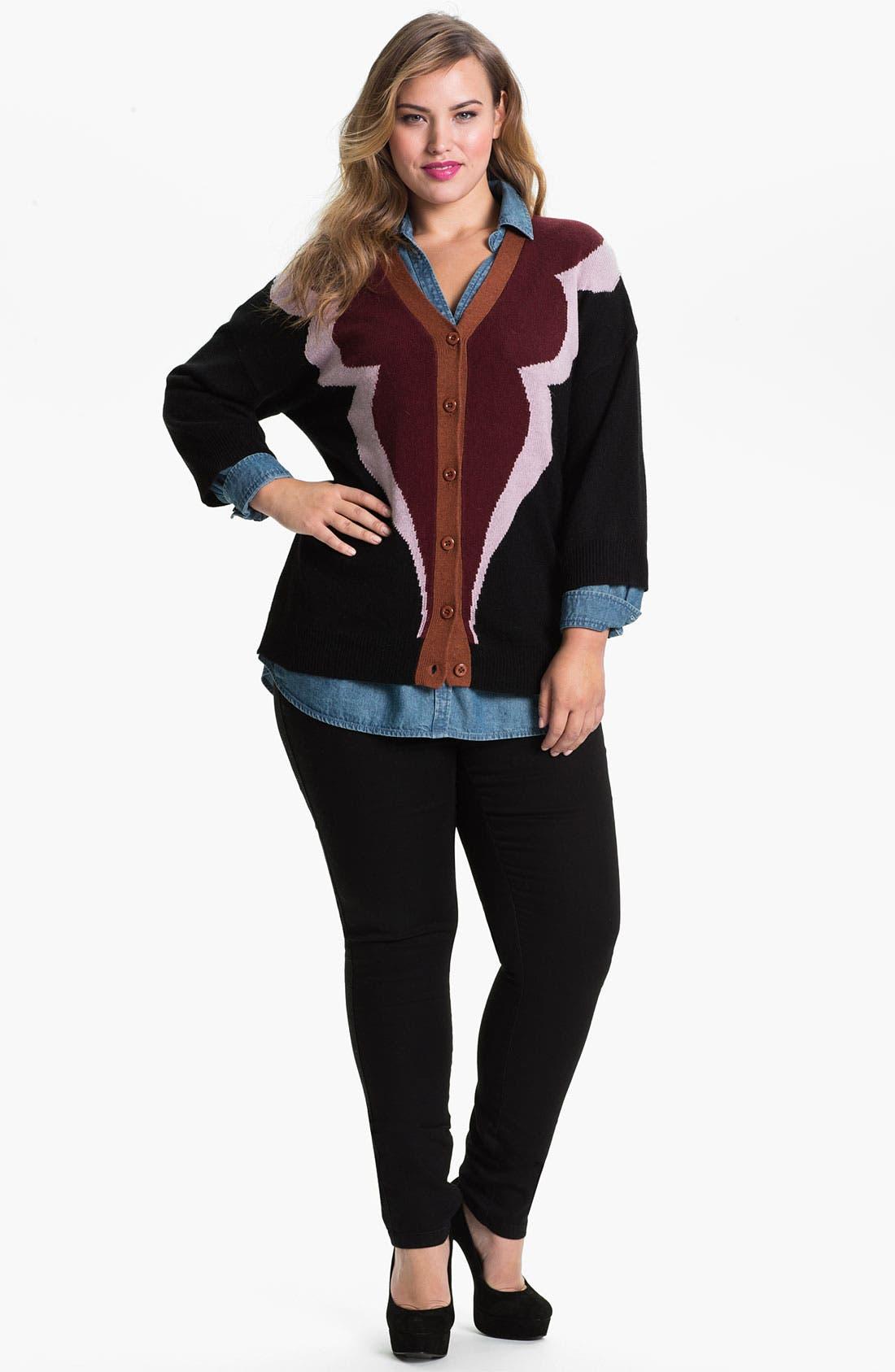 Alternate Image 1 Selected - Evans 'Clover' Cardigan (Plus Size)