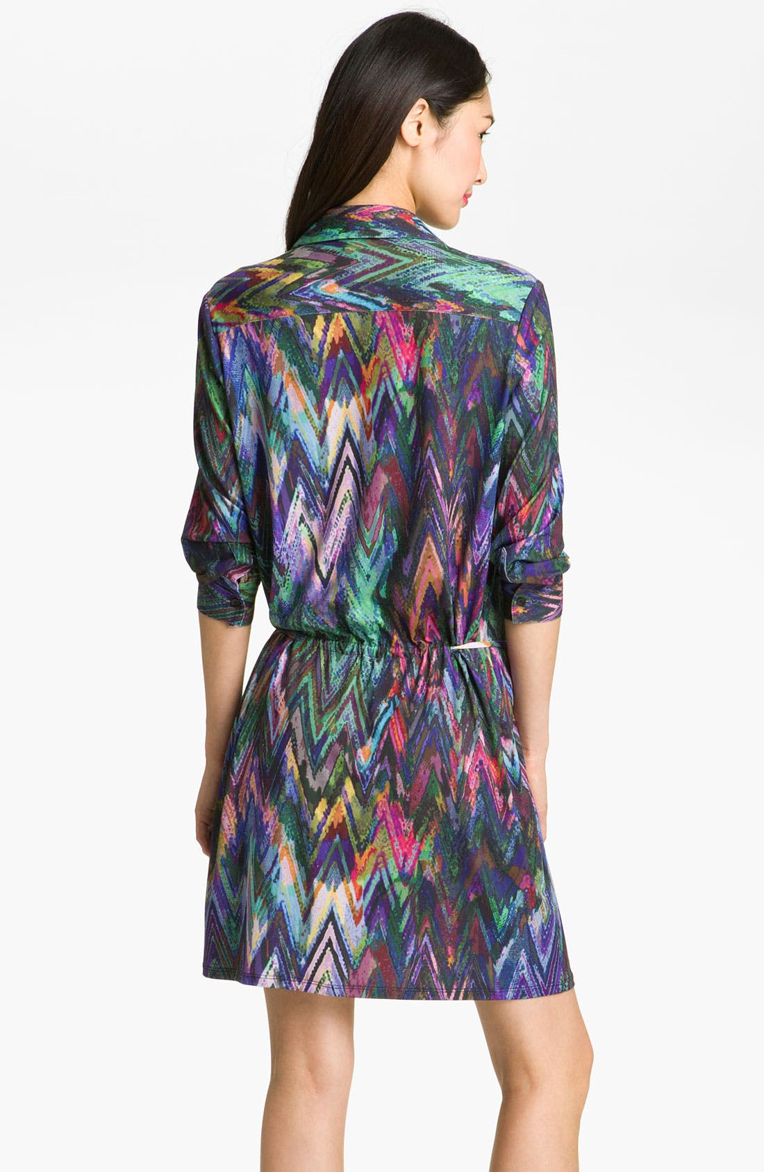 Alternate Image 2  - Suzi Chin for Maggy Boutique Print Jersey Shirtdress (Petite)