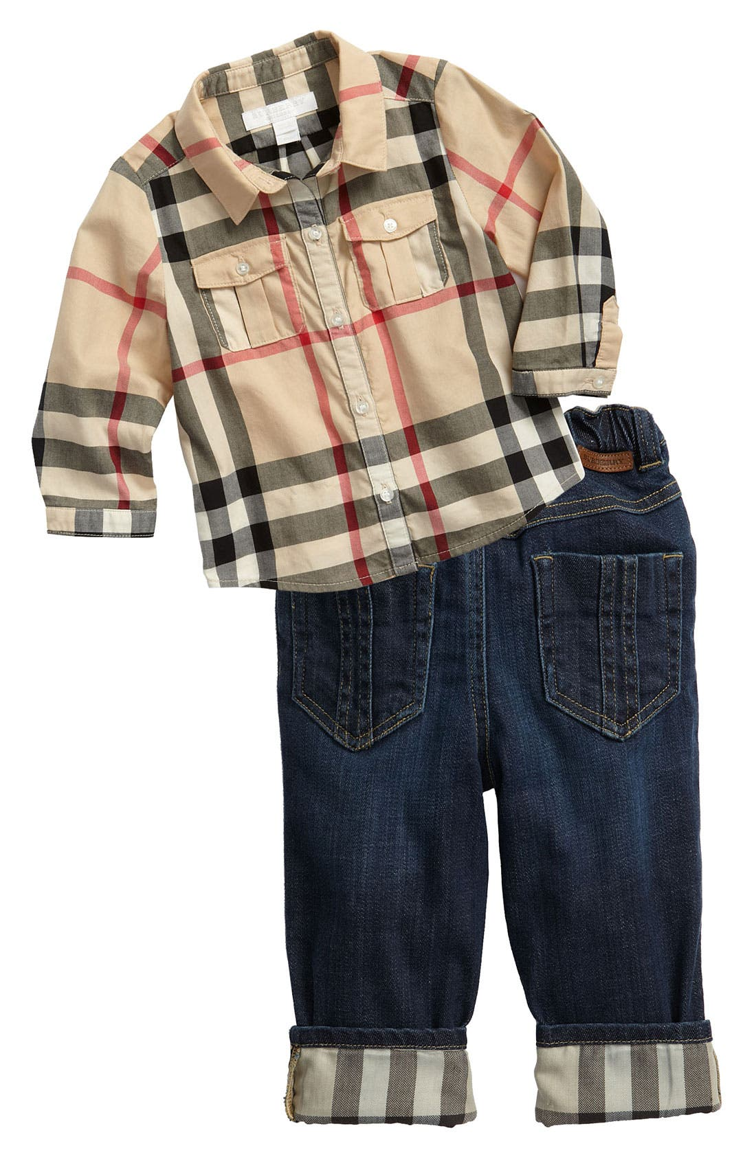 Alternate Image 1 Selected - Burberry Shirt & Jeans (Infant)