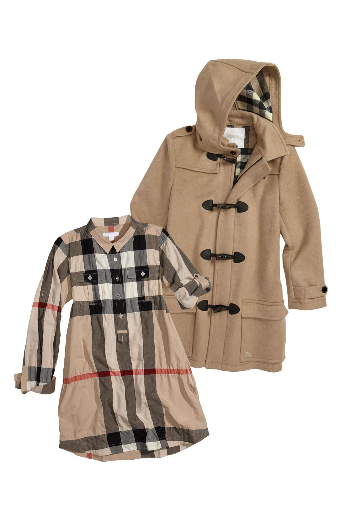 Alternate Image 1 Selected - Burberry Shirtdress & Coat (Big Girls)