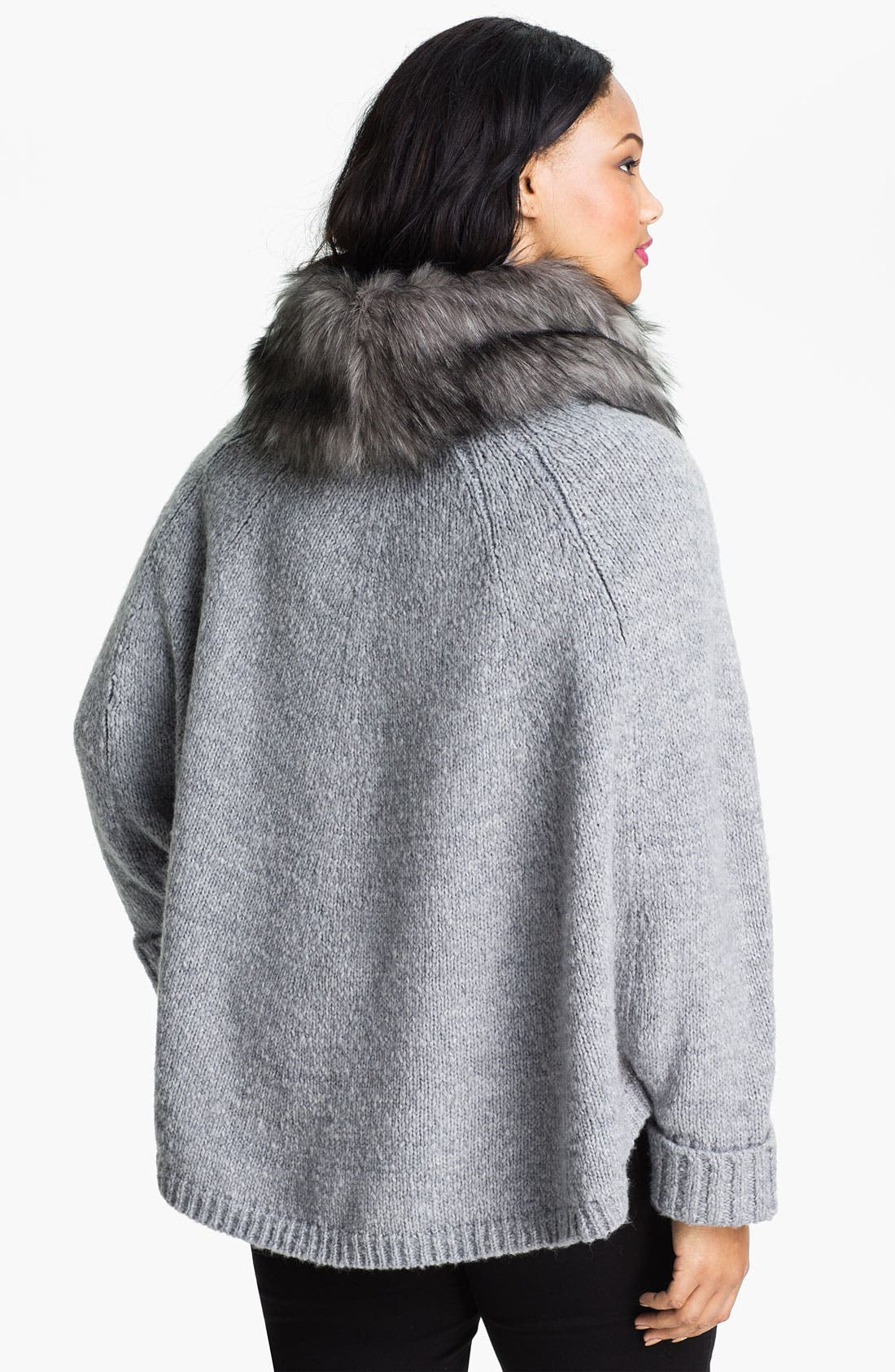 Alternate Image 2  - MICHAEL Michael Kors Poncho with Faux Fur Trim (Plus)