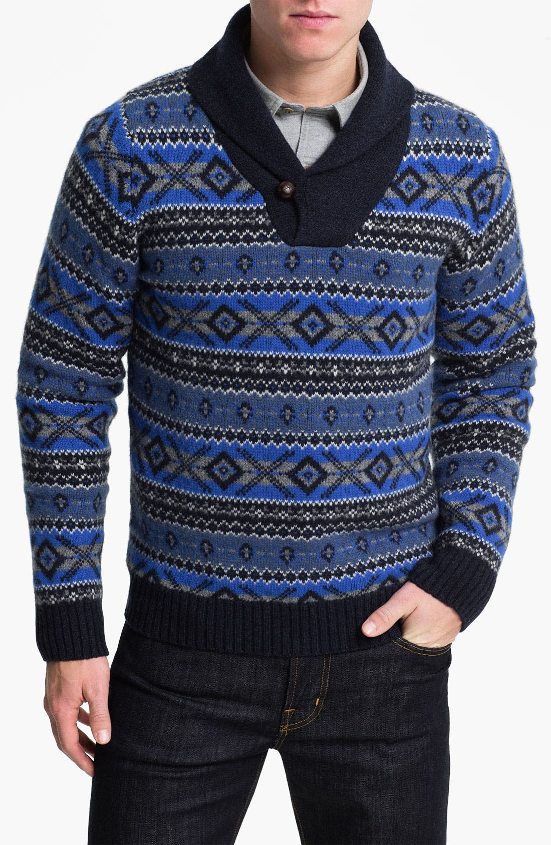 Alternate Image 1 Selected - Brooks Brothers Shawl Collar Wool Sweater