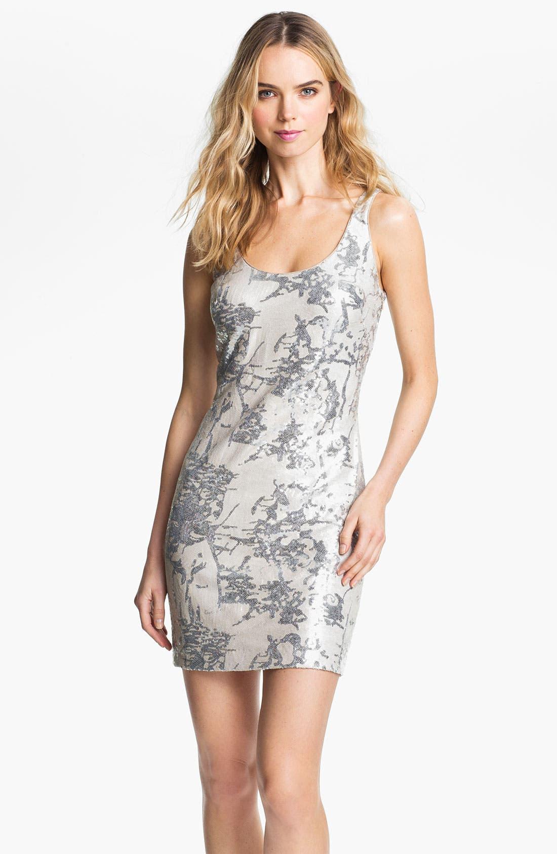 Main Image - Aidan Mattox Sequin Pattern Tank Dress