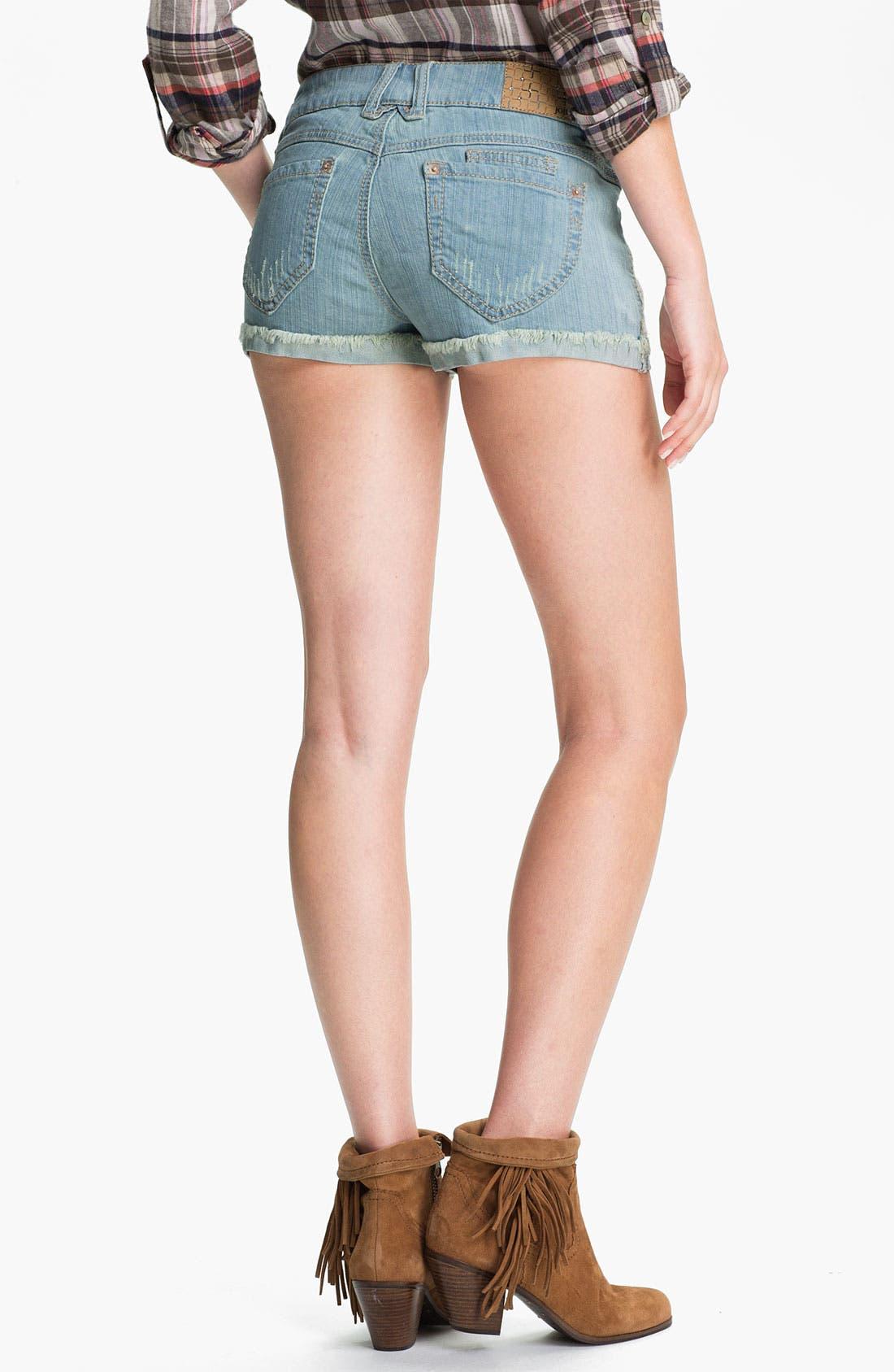 Lace Appliqué Denim Shorts,                             Alternate thumbnail 2, color,                             Light Wash