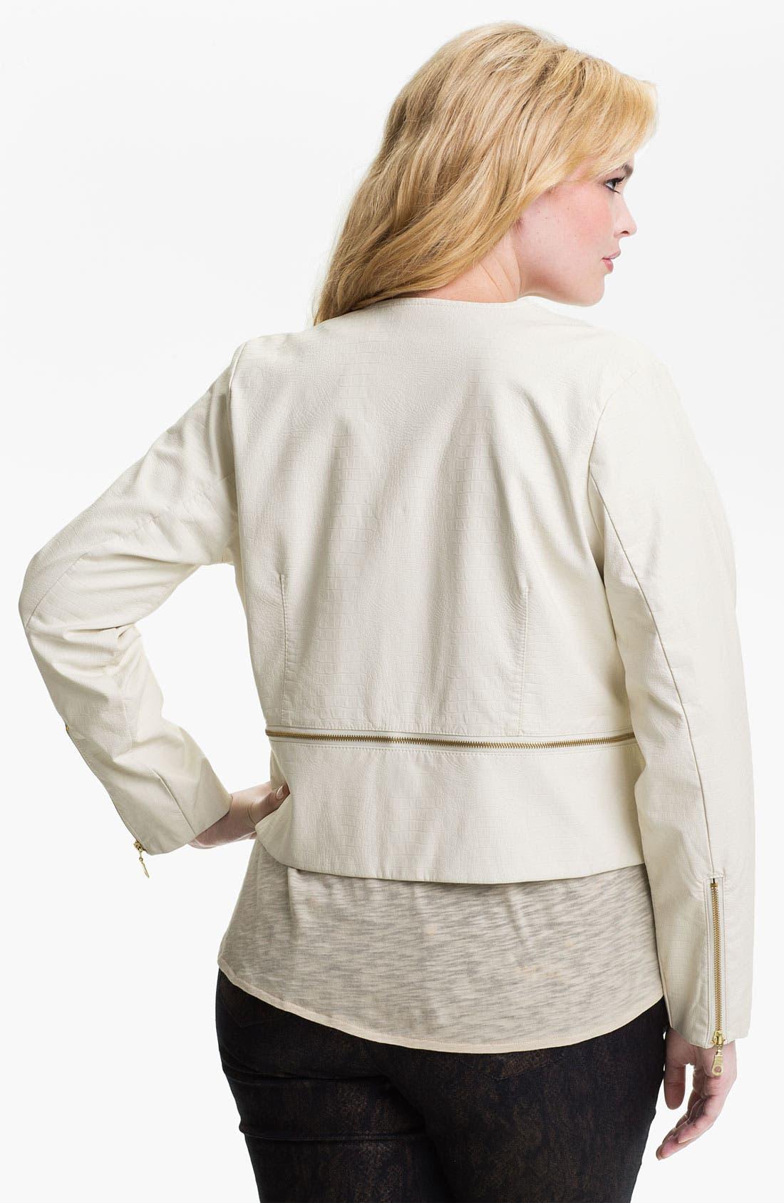 Alternate Image 2  - Mynt 1792 'Chelsea' Zip Detail Faux Leather Jacket (Plus)
